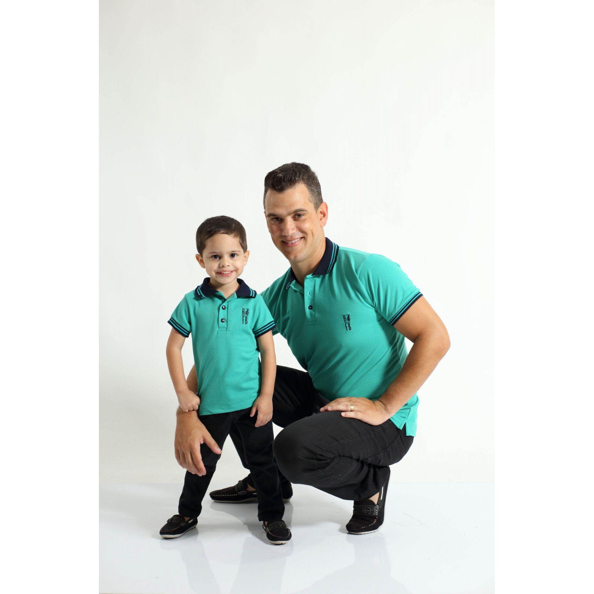 PAI E FILHO > Kit 02 Camisas ou Body Polo Verde Jade  [Coleção Tal Pai Tal Filho]  - Heitor Fashion Brazil