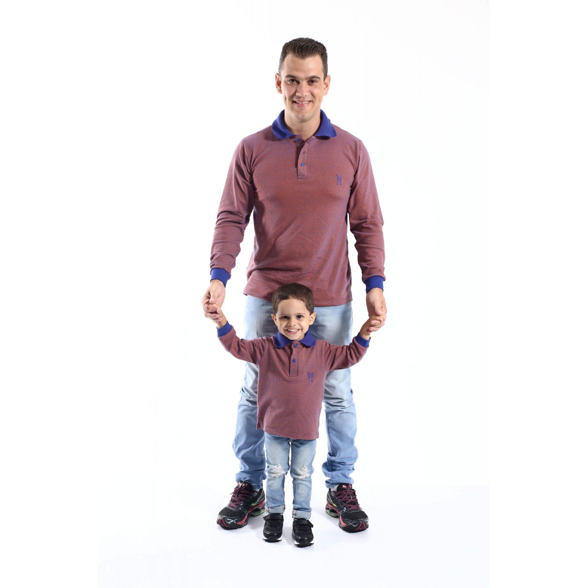 PAI E FILHO > Kit 02 Camisas Polos laranjas Manga Longa [Coleção Tal Pai Tal Filho]