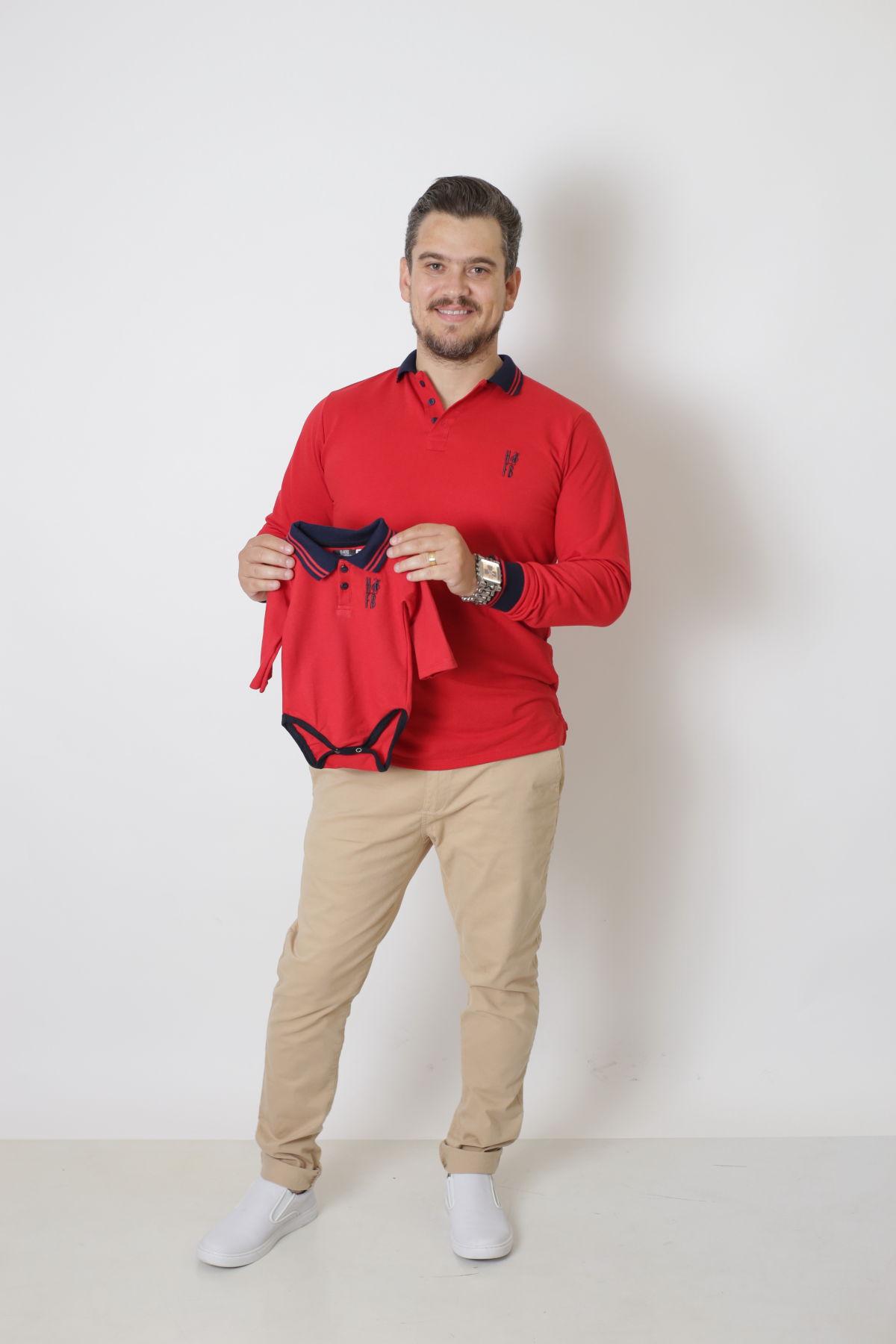 PAI E FILHO > Kit 02 Camisas Polos  ou Body Infantil Vermelho Manga Longa [Coleção Tal Pai Tal Filho]  - Heitor Fashion Brazil