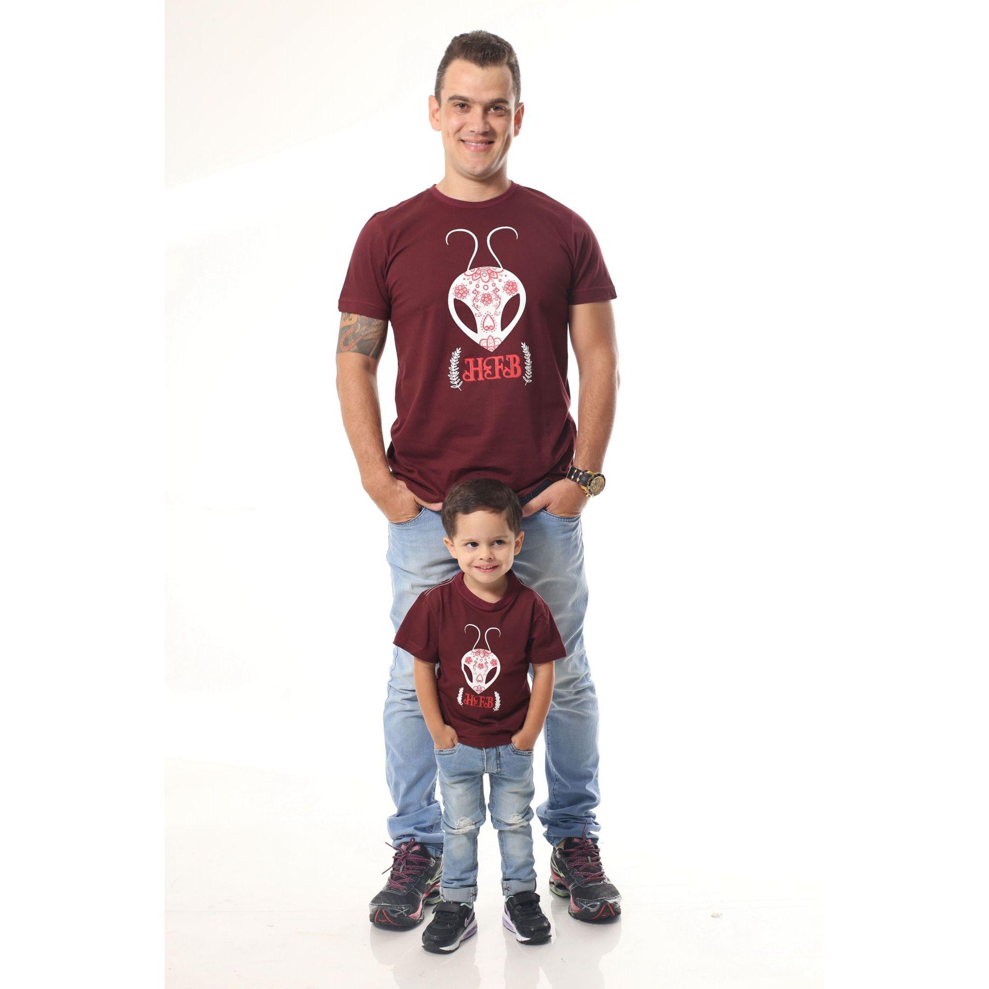 PAI E FILHO > Kit 02 Camisetas Bordôs Estampadas [Coleção Tal Pai Tal Filho]
