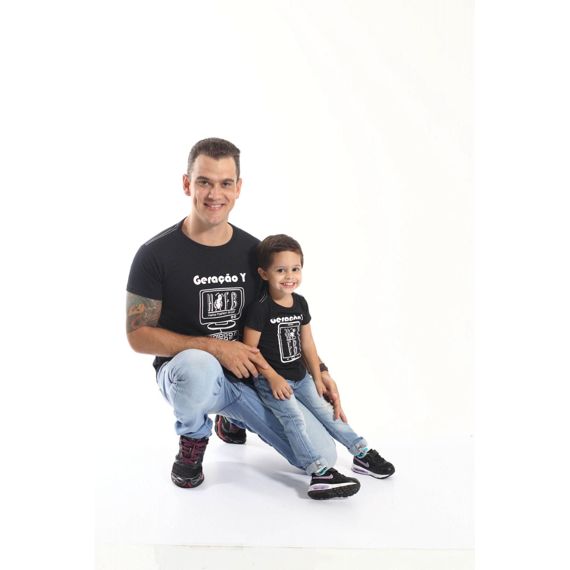 PAI E FILHO > Kit 02 Camisetas Long Geração Y e Z [Coleção Tal Pai Tal Filho]  - Heitor Fashion Brazil