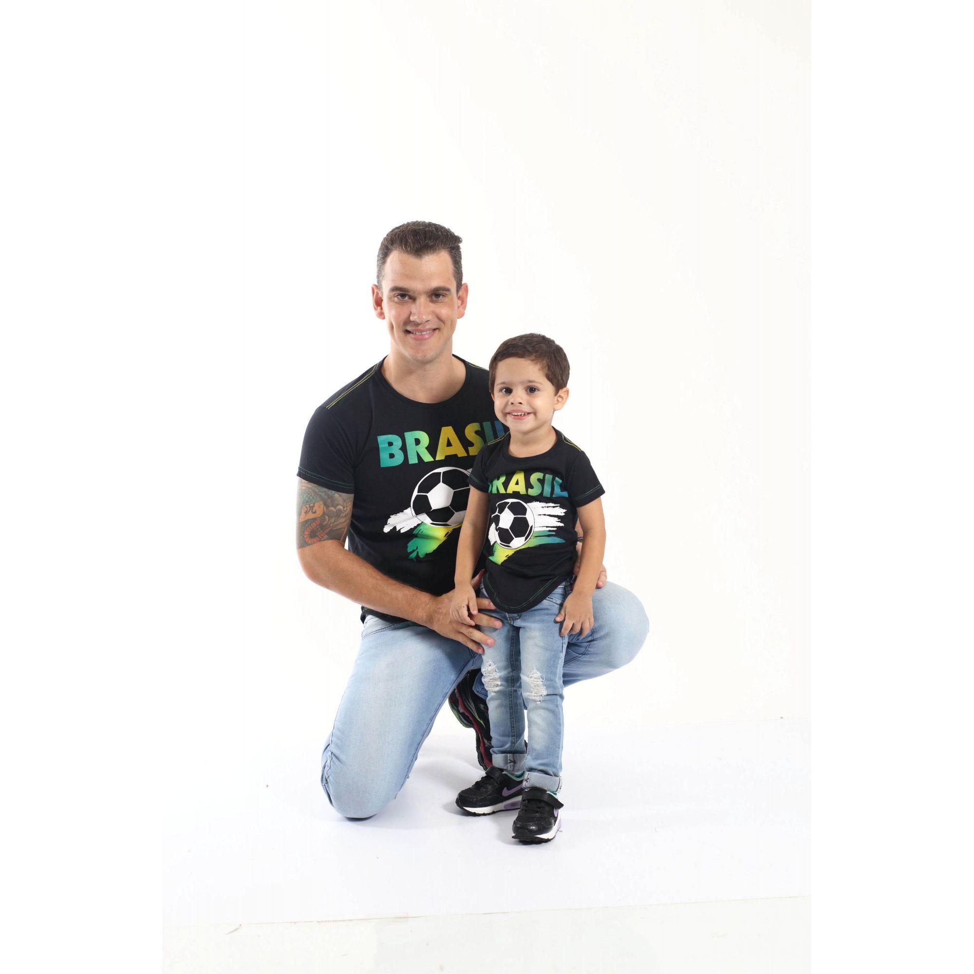 PAI E FILHO > Kit 02 Camisetas Long Pretas Brasil [Coleção Tal Pai Tal Filho]  - Heitor Fashion Brazil