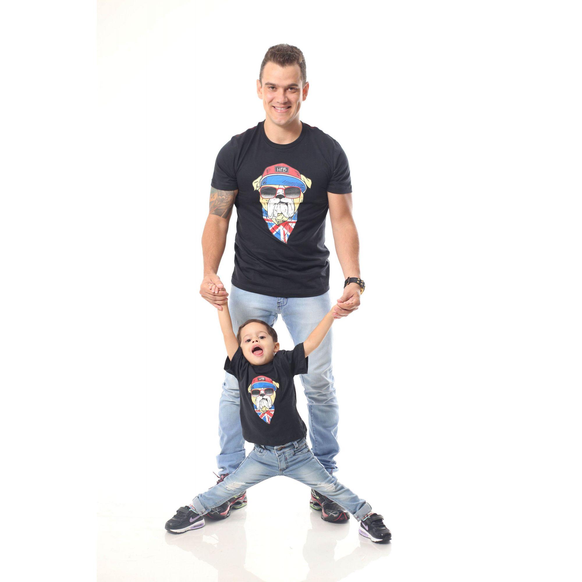 PAI E FILHO > Kit 02 Camisetas Pretas com Estampa de Cachorro Bulldog Inglês [Coleção Tal Pai Tal Filho]  - Heitor Fashion Brazil