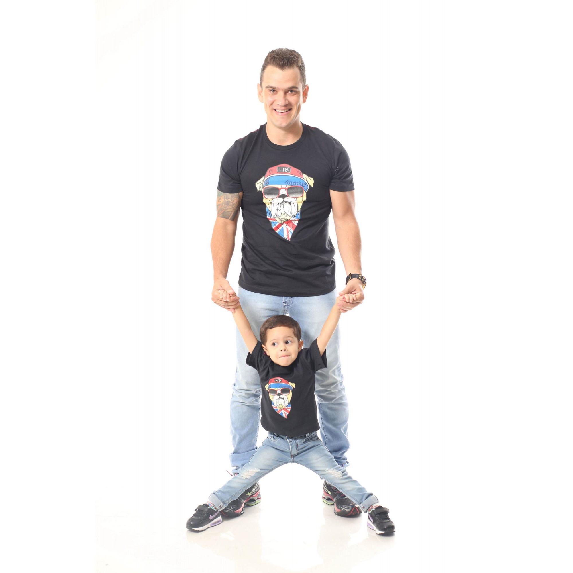 PAI E FILHO > Kit 02 Camisetas Pretas Estampa de Cachorro Bulldog Inglês [Coleção Tal Pai Tal Filho]  - Heitor Fashion Brazil
