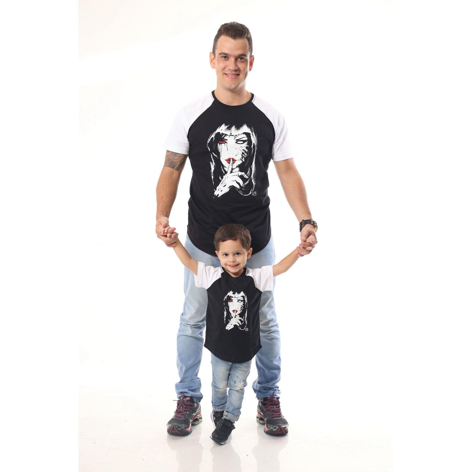PAI E FILHO > Kit 02 Camisetas Raglan Long Pretas com Mangas Brancas [Coleção Tal Pai Tal Filho]
