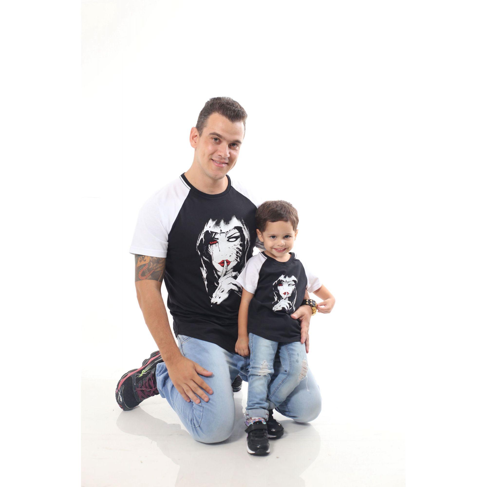PAI E FILHO > Kit 02 Camisetas Raglan Long Pretas com Mangas Brancas [Coleção Tal Pai Tal Filho]  - Heitor Fashion Brazil