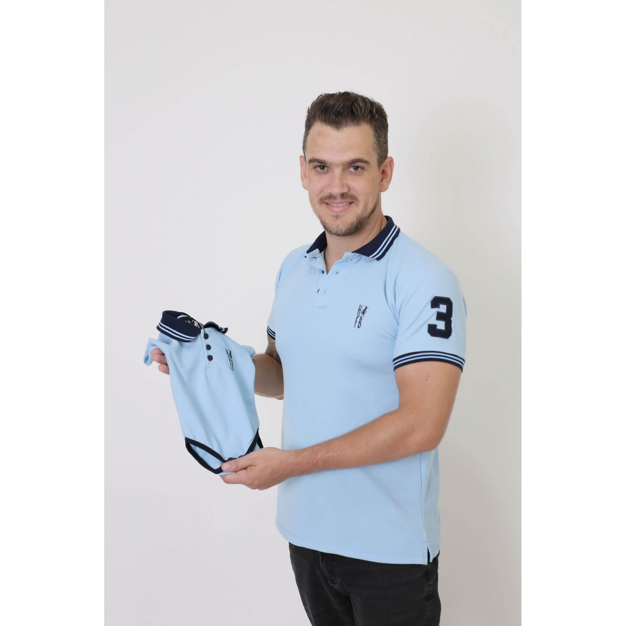 PAI E FILHOS > Kit 02 Peças Camisa + Body Polo - Azul Nobreza [Coleção Tal Pai Tal Filho]