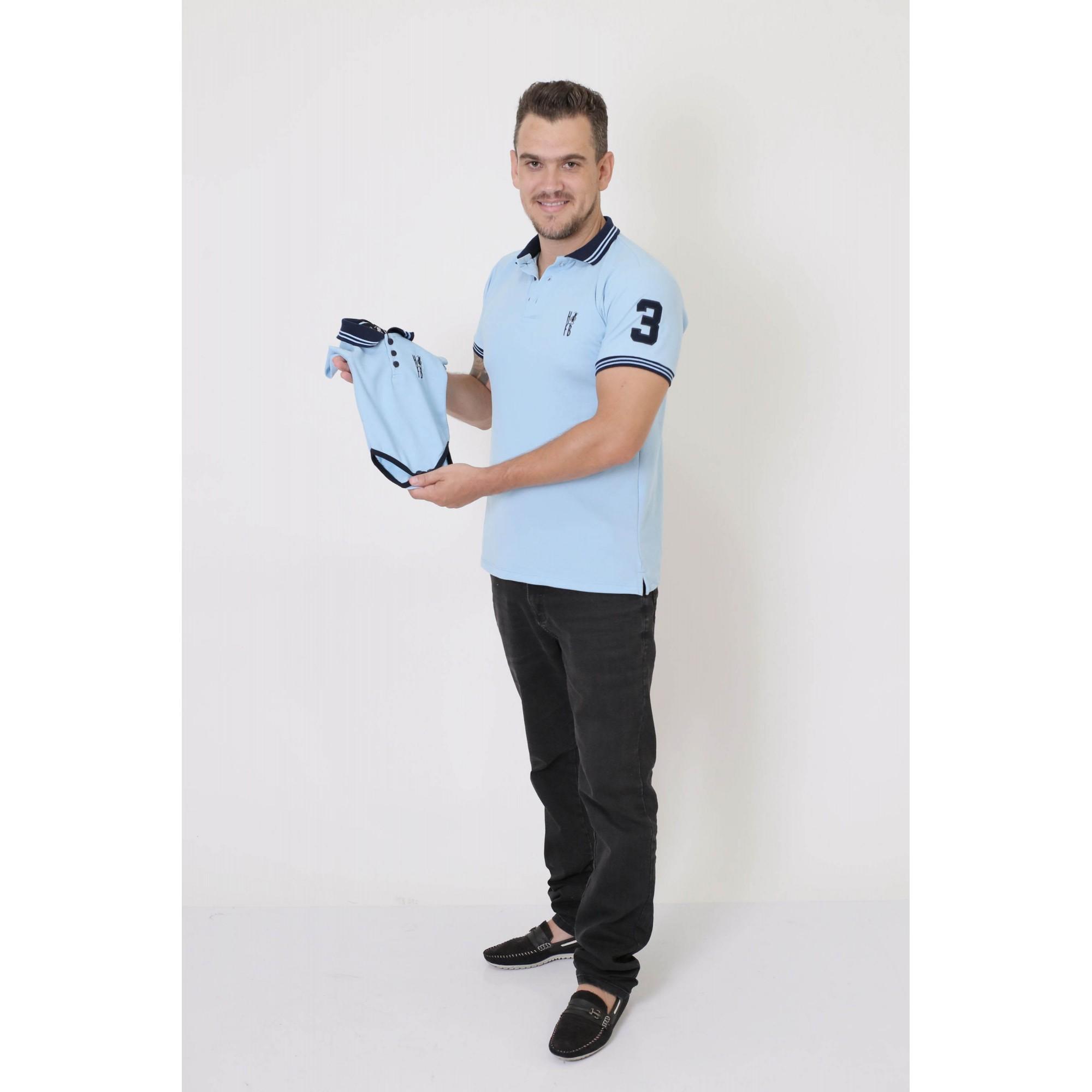 PAI E FILHOS > Kit 02 Peças Camisa + Body Polo - Azul Nobreza [Coleção Tal Pai Tal Filho]  - Heitor Fashion Brazil