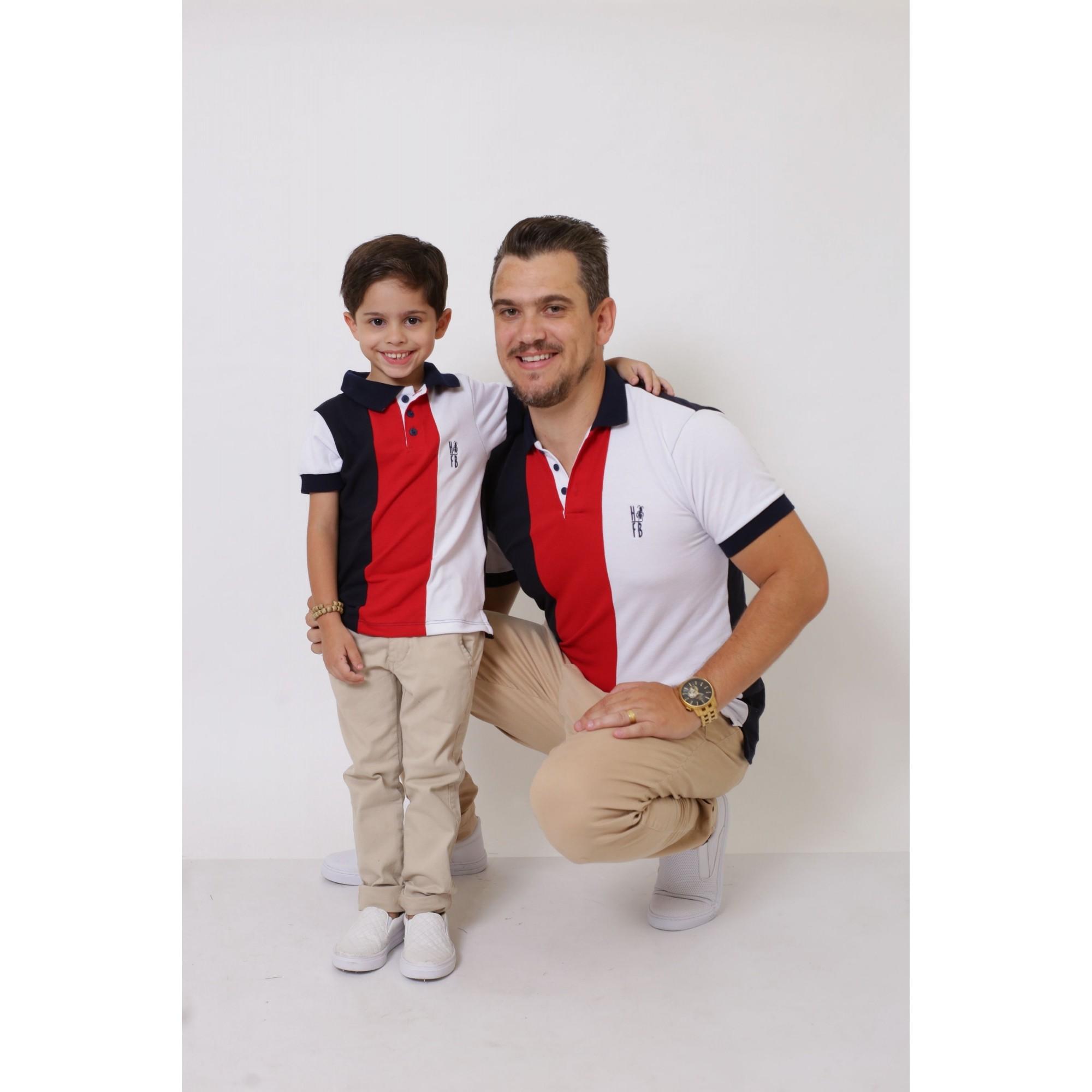 PAI E FILHO > Kit 02 Peças - Camisas ou Body Polo - Listrados King [Coleção Tal Pai Tal Filho]  - Heitor Fashion Brazil