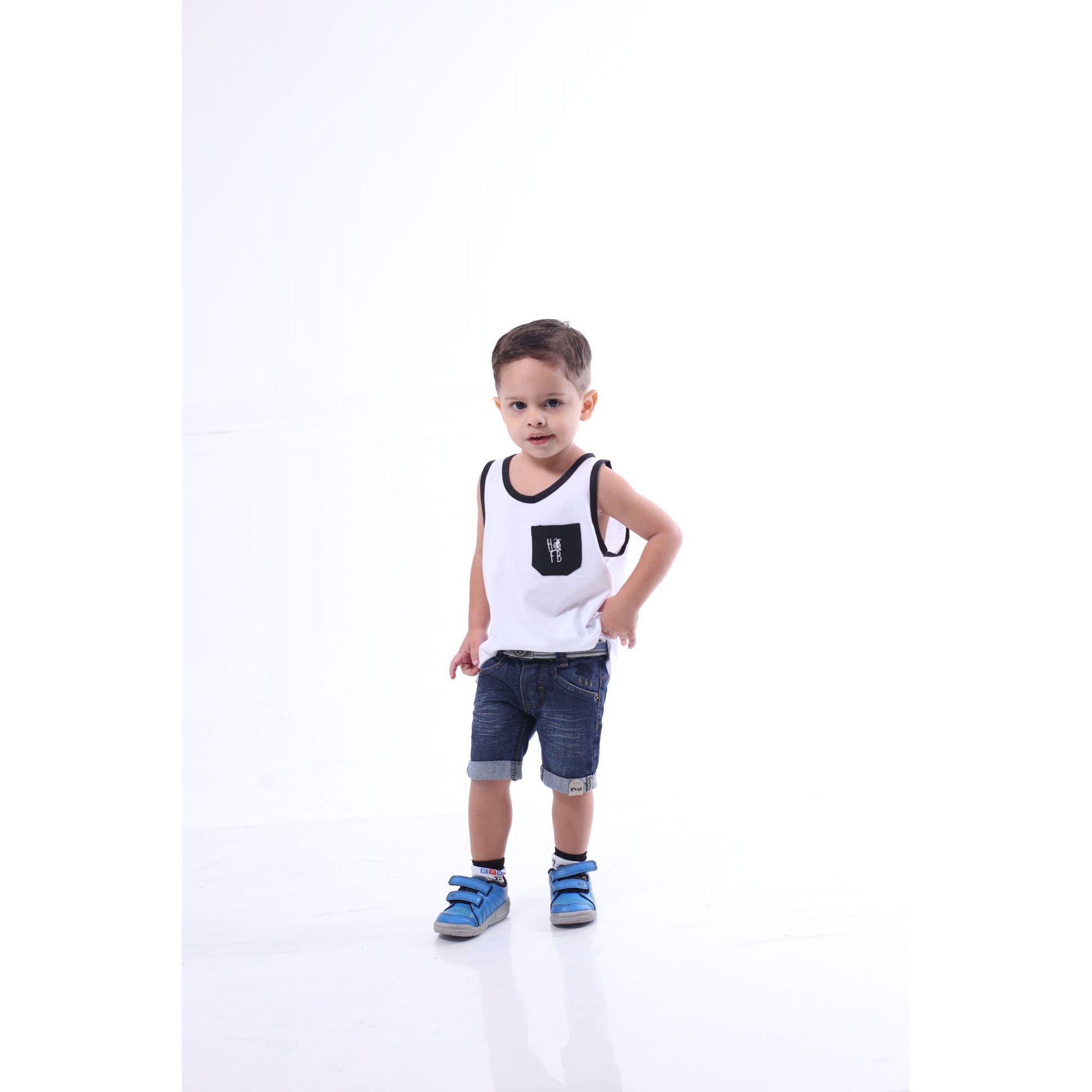 PAI E FILHO > Kit 02 Regatas Brancas Com Bolso Preto [Coleção Tal Pai Tal Filho]  - Heitor Fashion Brazil