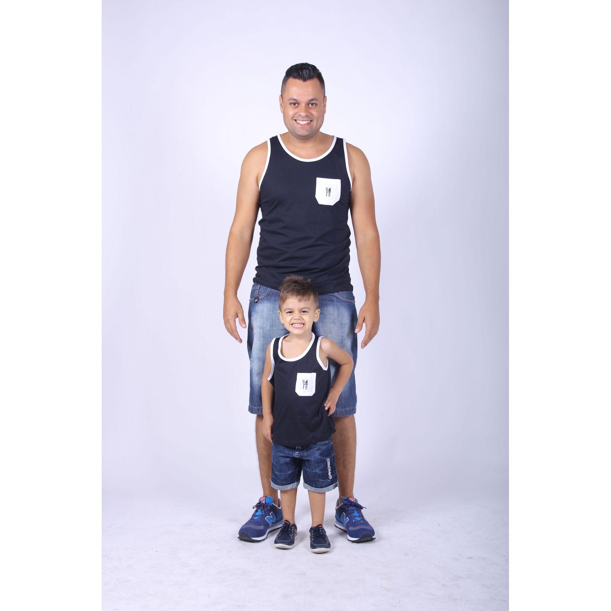 PAI E FILHO > Kit 02 Regatas Pretas Com Bolso Branco [Coleção Tal Pai Tal Filho]  - Heitor Fashion Brazil