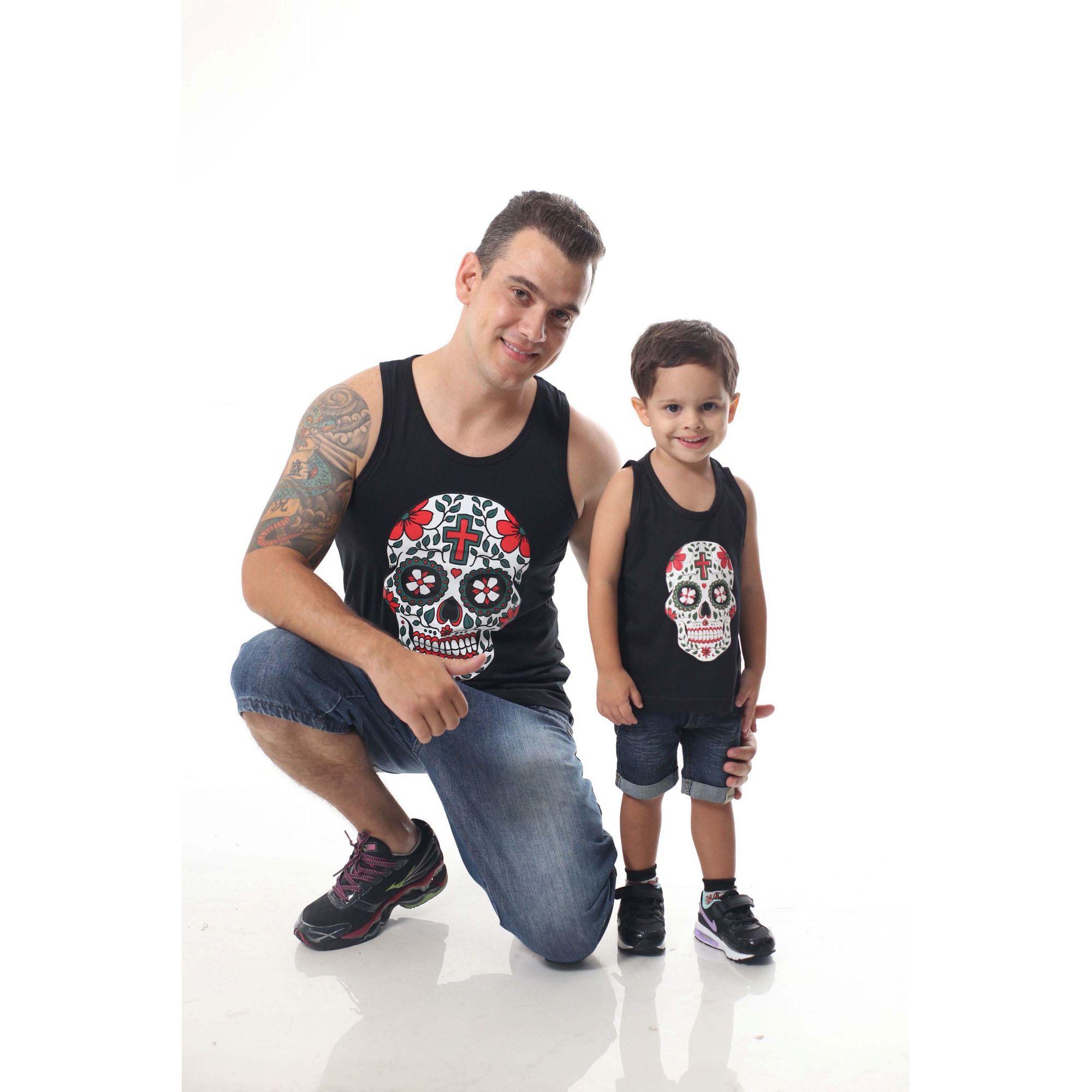 PAI E FILHO > Kit 02 Regatas Pretas de Caveira Mexicana [Coleção Tal Pai Tal Filho]  - Heitor Fashion Brazil