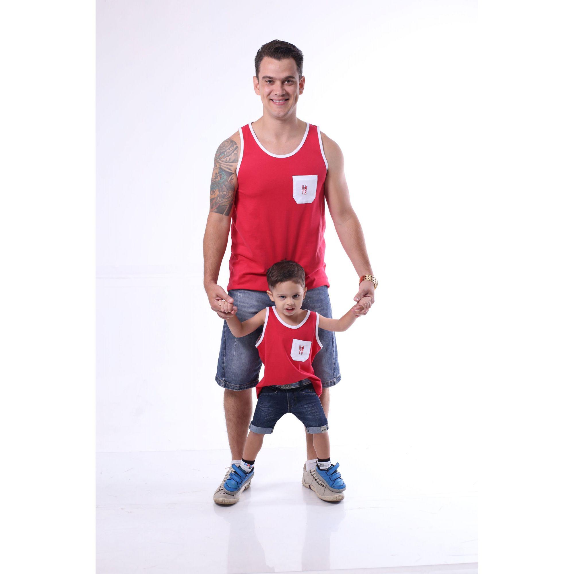PAI E FILHO > Kit 02 Regatas Vermelhas Com Bolso Branco [Coleção Tal Pai Tal FIlho]  - Heitor Fashion Brazil
