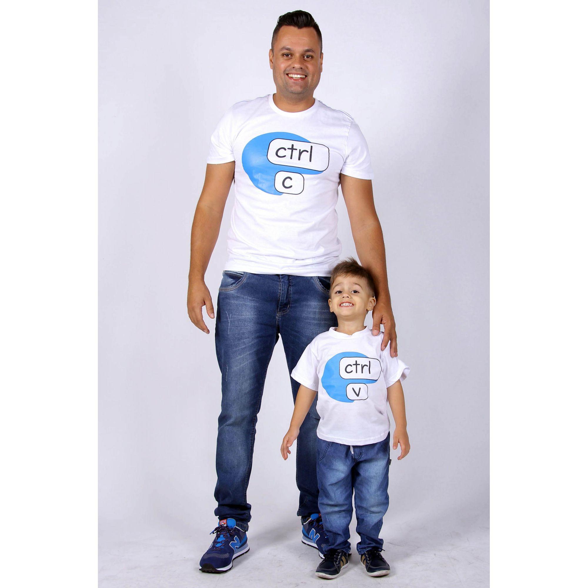 PAI E FILHO > Kit 2 Peças Brancas Ctrl-C e Ctrl-V [Coleção Tal Pai Tal Filho]  - Heitor Fashion Brazil