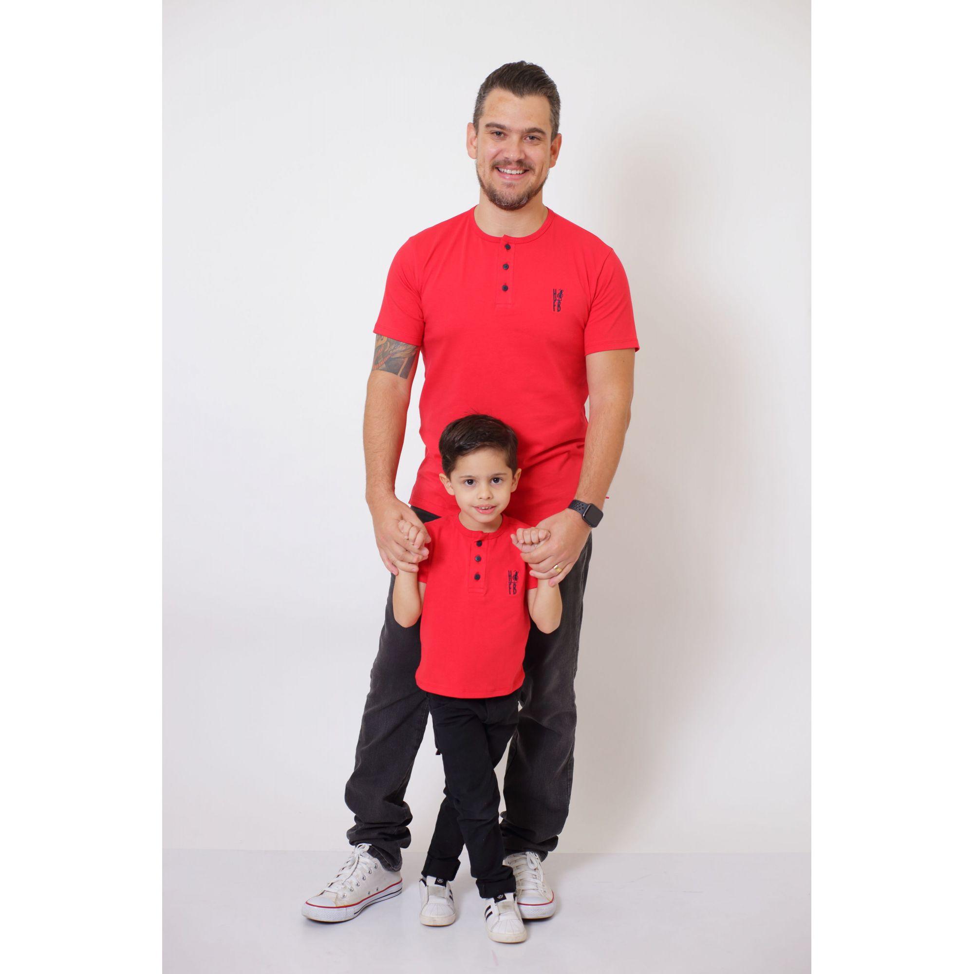 PAI E FILHO > T-Shirt Adulto  + T-Shirt ou Body Infantil - Henley - Vermelho  [Coleção Tal Pai Tal Filho]