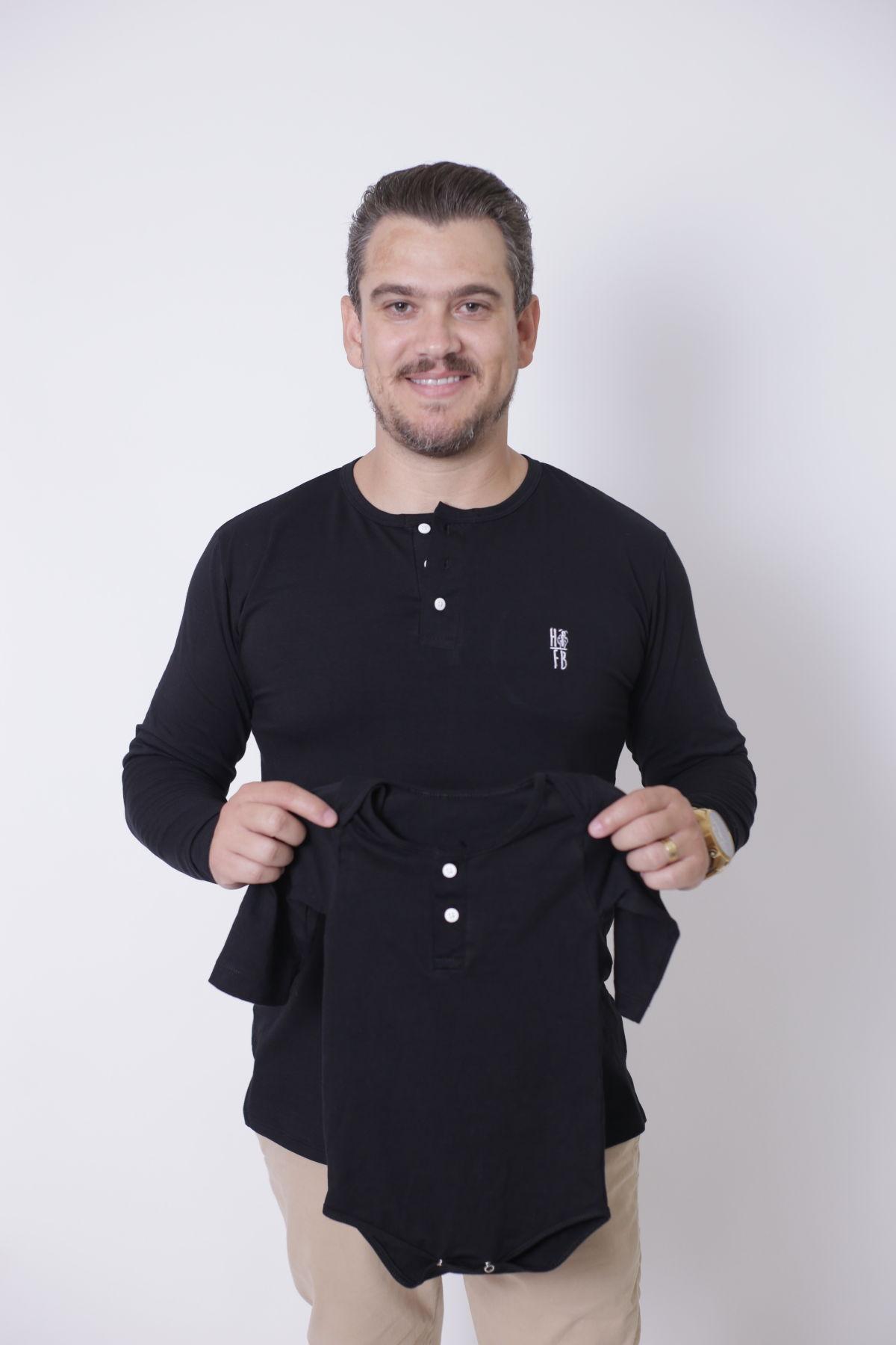 PAI E FILHOS > 02 Peças - T-Shirt + Body Unissex Henley - Preto Manga Longa  [Coleção Tal Pai Tal Filho]