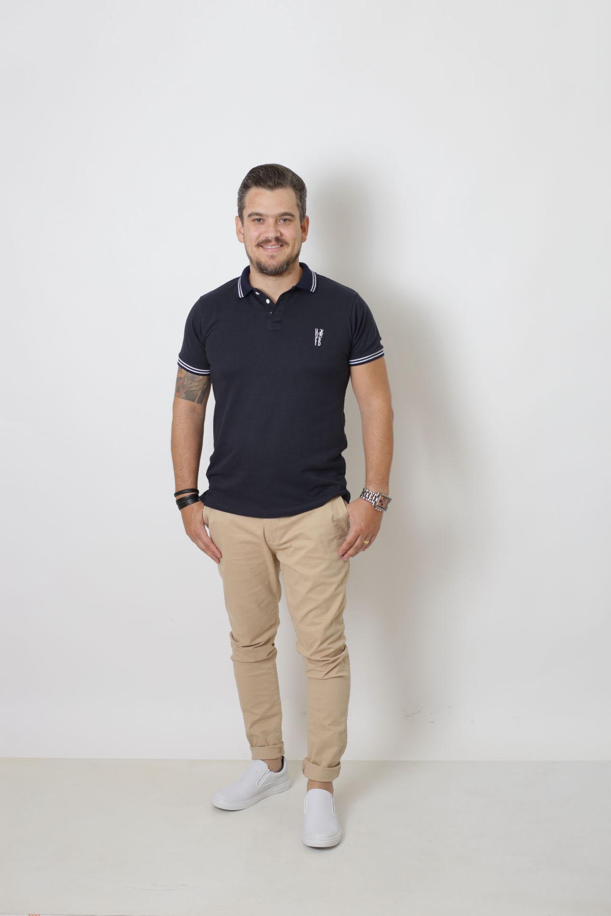PAI E FILHOS > Kit 02 Peças Camisa + Body Polo - Azul Marinho Céu  [Coleção Tal Pai Tal Filho]  - Heitor Fashion Brazil