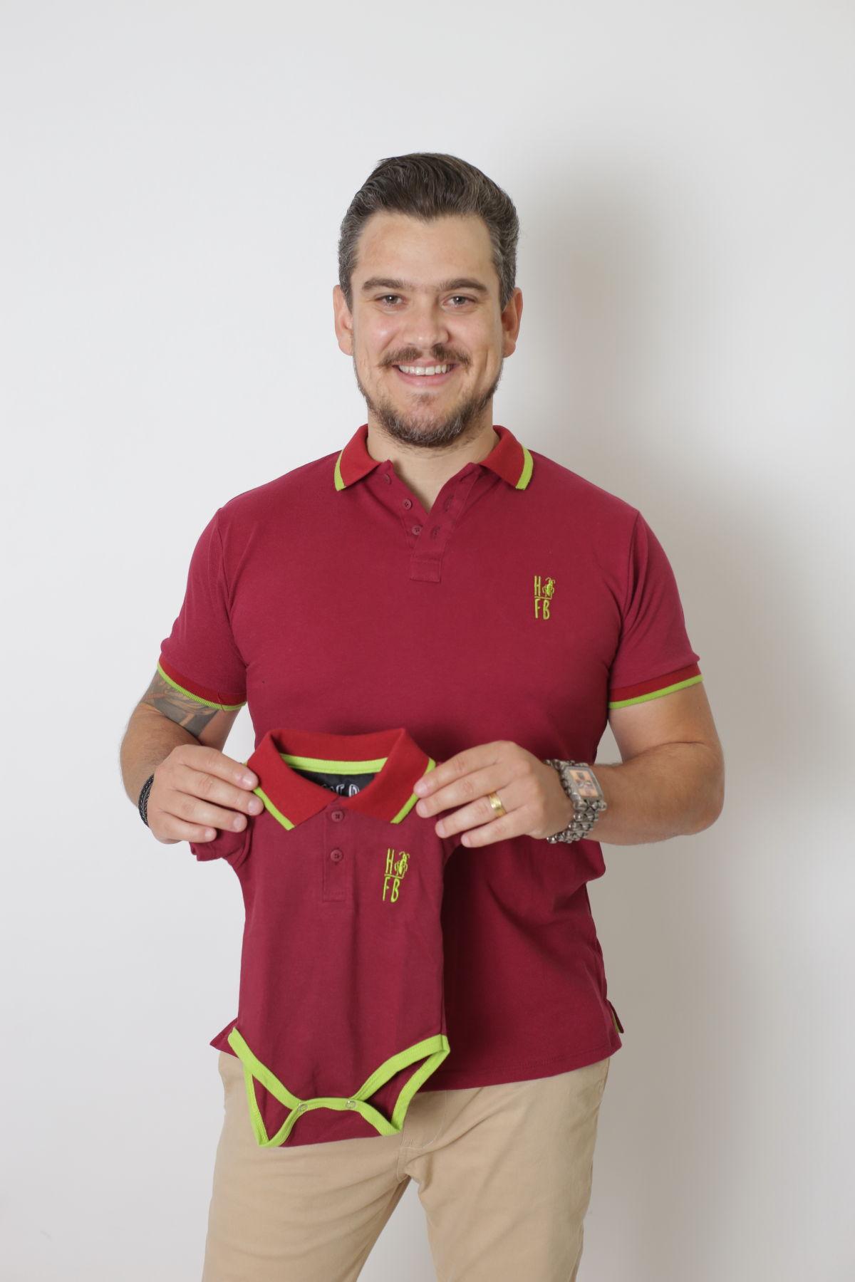 PAI E FILHOS > Kit 02 Peças Camisa + Body Polo - Bordo  [Coleção Tal Pai Tal Filho]