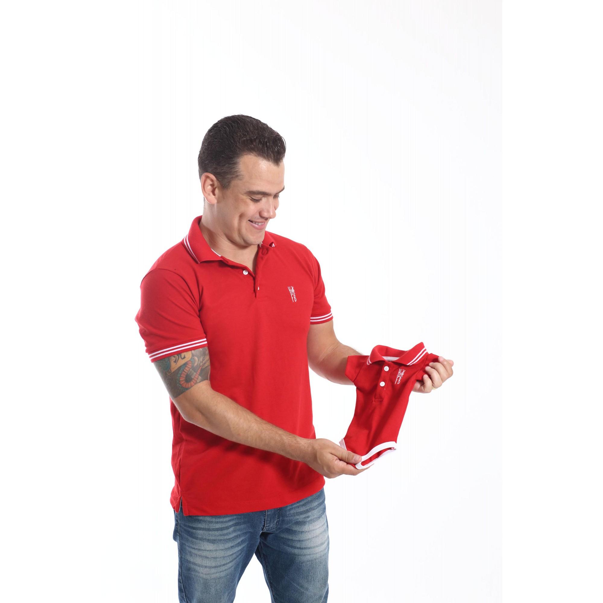 PAI E FILHOS > Kit 02 Peças Camisa + Body Polo Unissex - Vermelho Paixão  [Coleção Tal Pai Tal Filho]