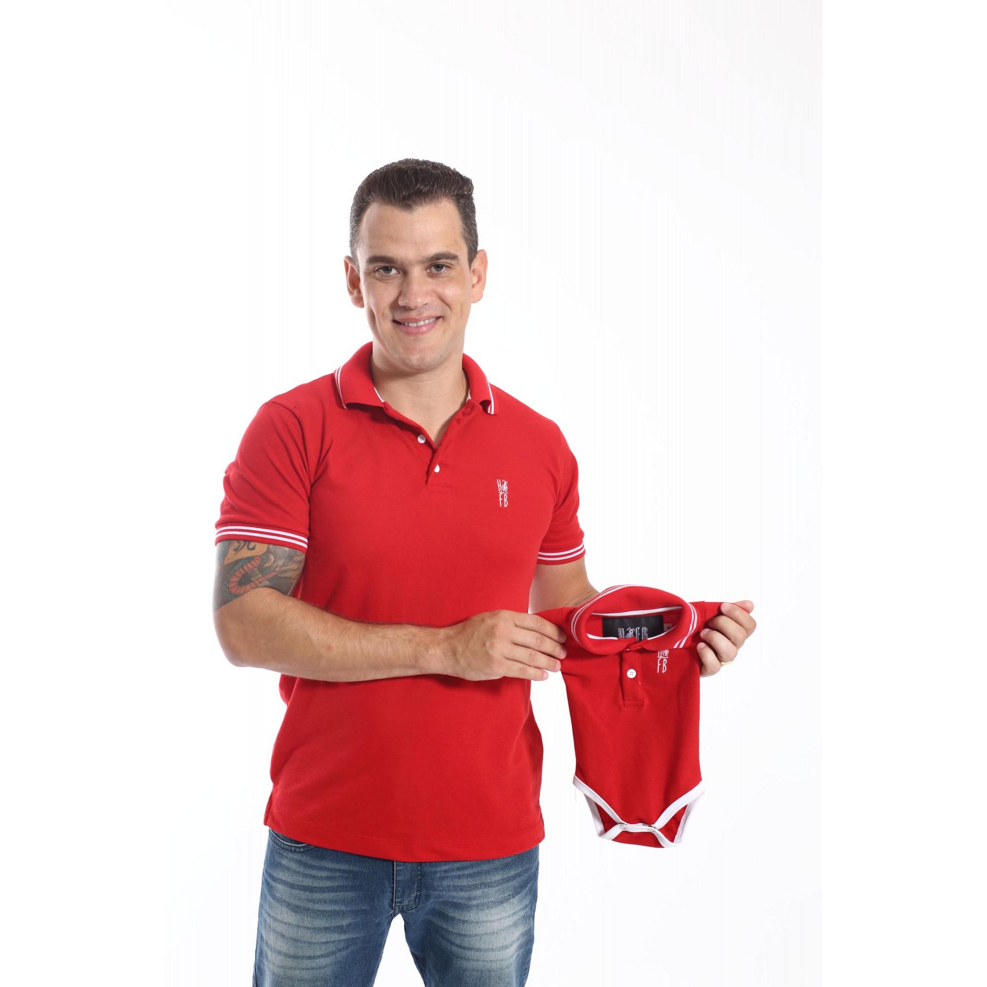 PAI E FILHOS > Kit 02 Peças Camisa + Body Polo Unissex - Vermelho Paixão  [Coleção Tal Pai Tal Filho]  - Heitor Fashion Brazil