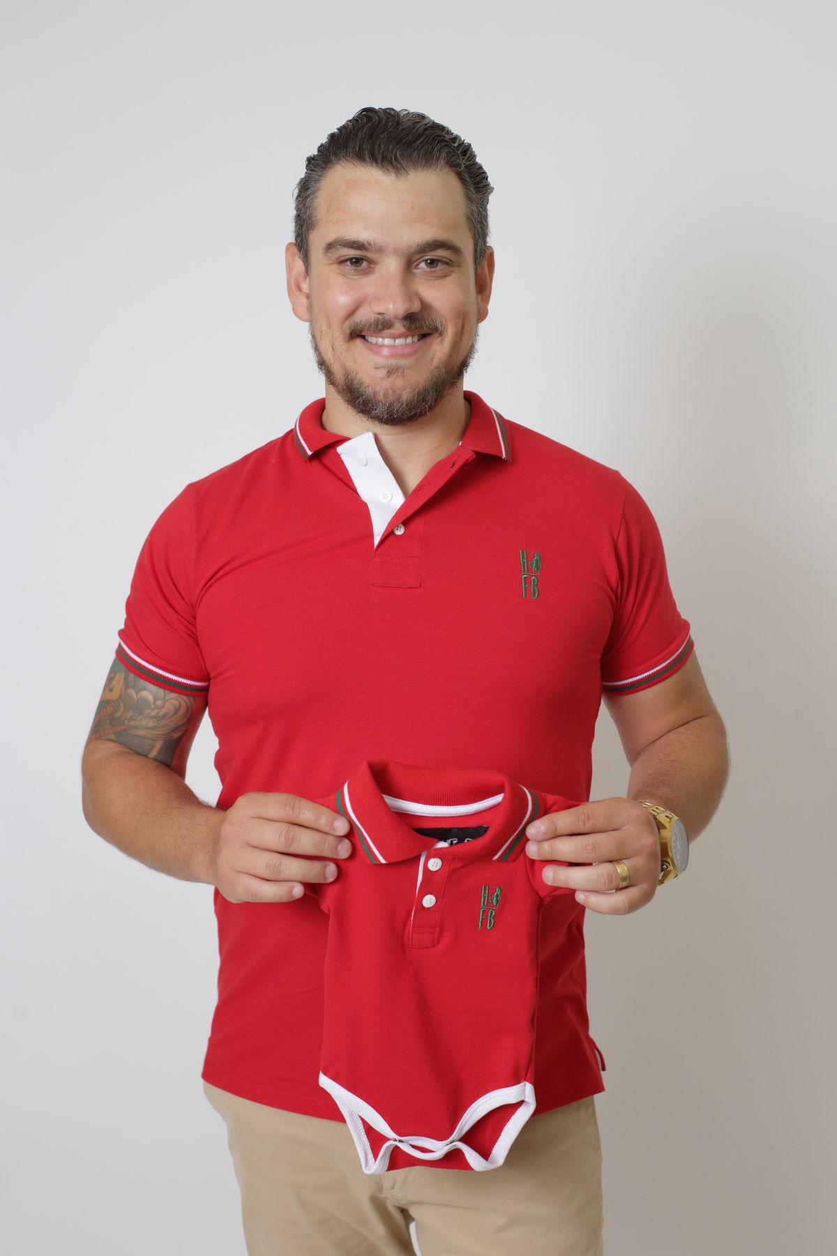 PAI E FILHOS > Kit 02 Peças Camisa + Body Polo Unissex - Vermelho PREMIUM