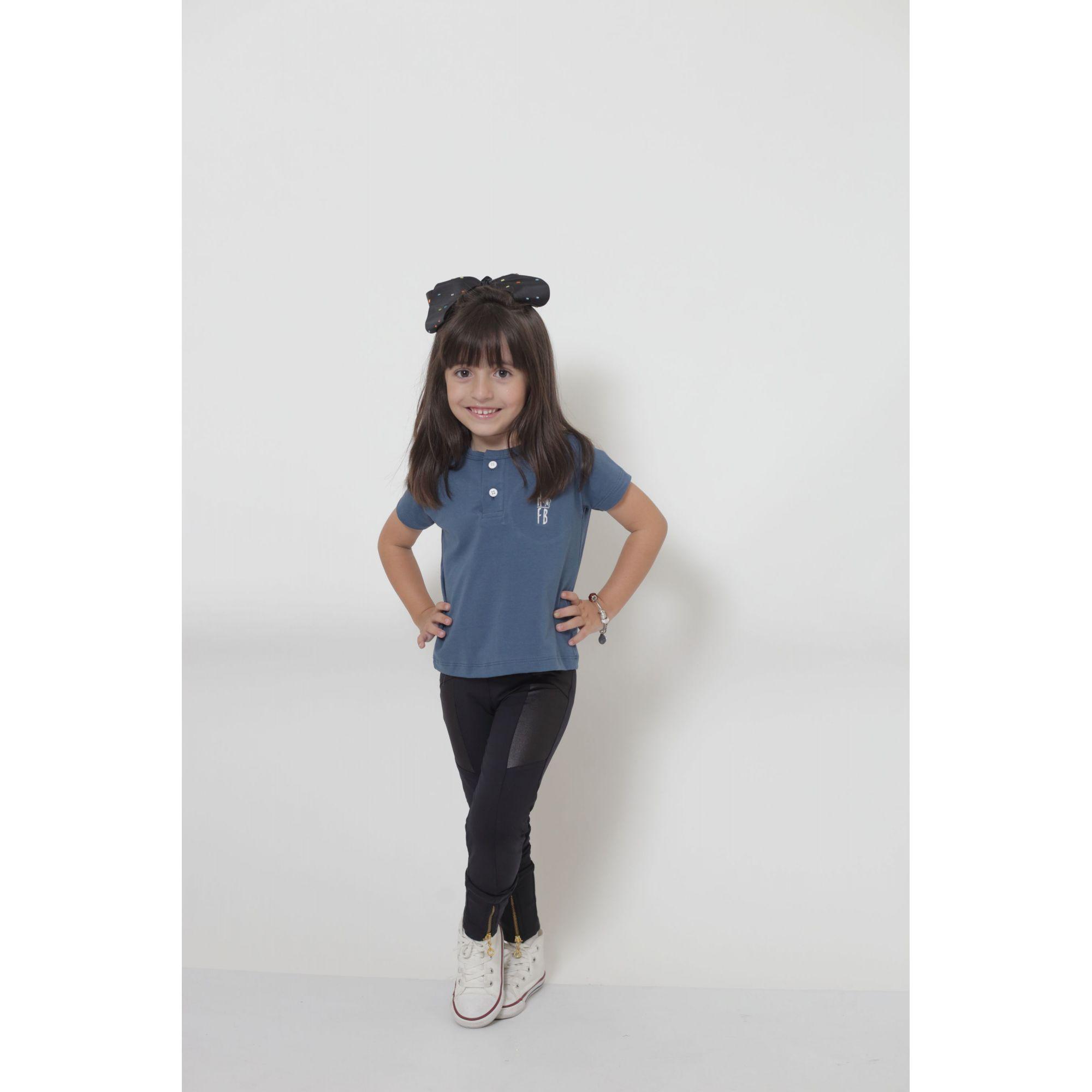 PAIS E FILHA > Kit 3 Peças T-Shirt ou Body Henley - Azul Petróleo [Coleção Família]  - Heitor Fashion Brazil
