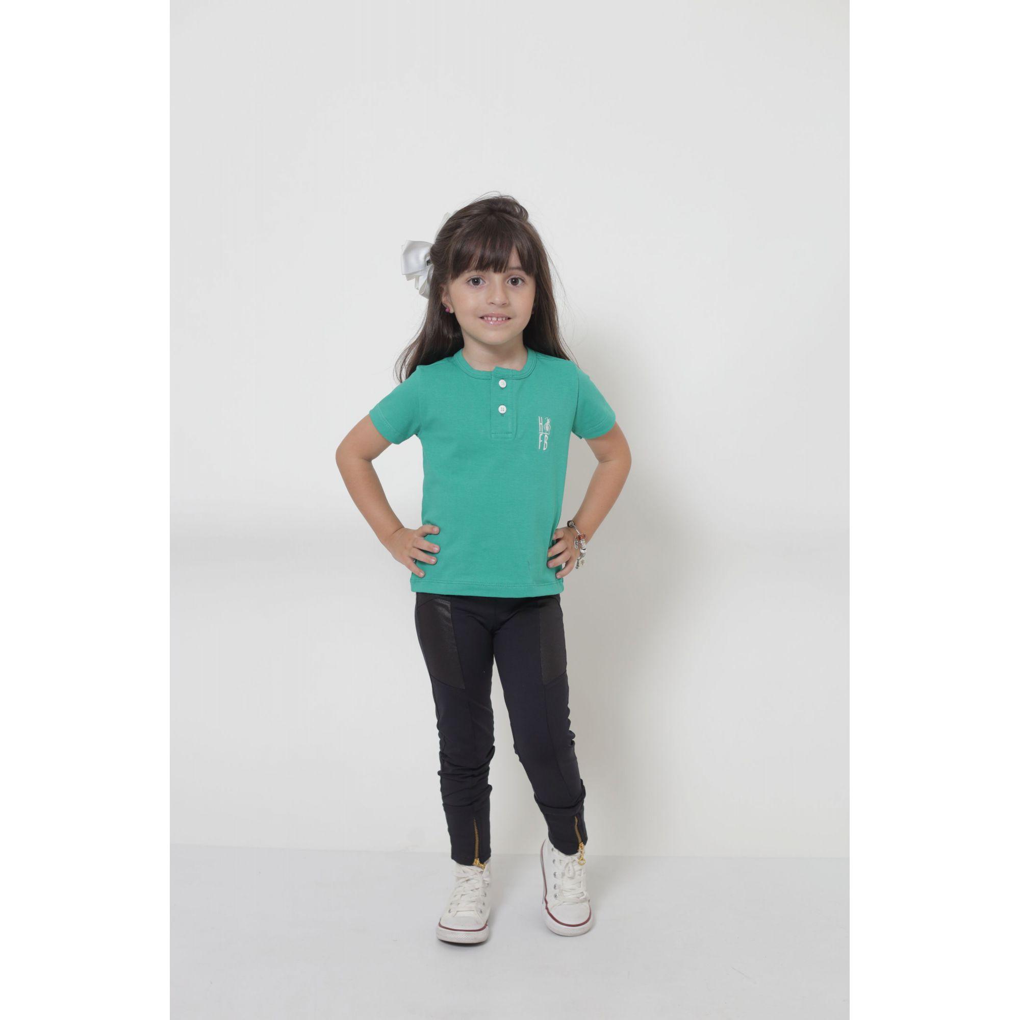 PAIS E FILHA > Kit 3 Peças T-Shirt ou Body Henley - Verde Jade [Coleção Família]  - Heitor Fashion Brazil