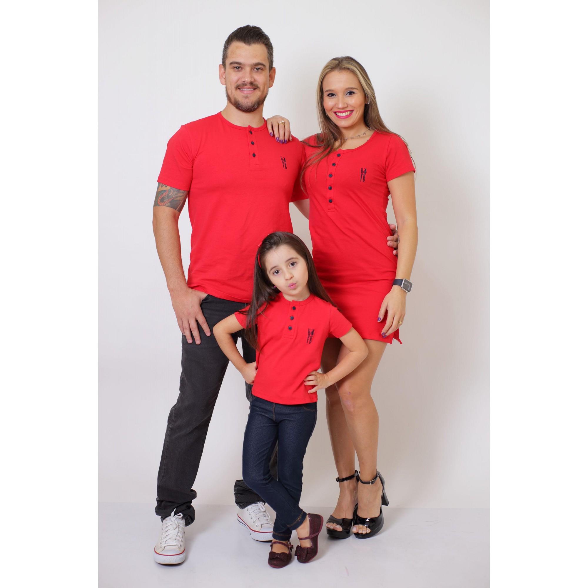 PAIS E FILHA > Kit 3 Peças - T-Shirt + Vestido + T-Shirt ou Body Henley Infantil - Vermelho [Coleção Família]