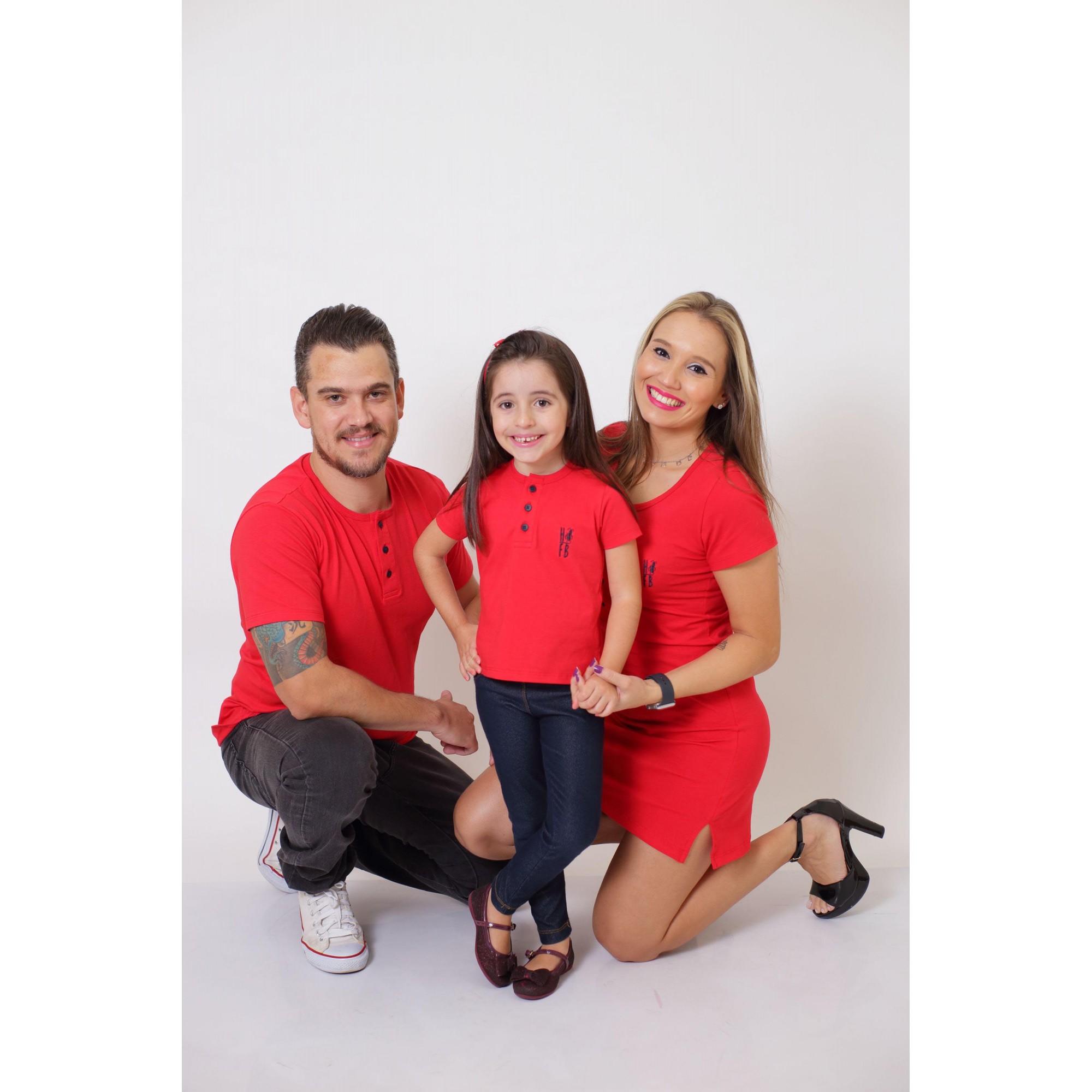 PAIS E FILHA > Kit 3 Peças - T-Shirt + Vestido + T-Shirt ou Body Henley Infantil - Vermelho [Coleção Família]  - Heitor Fashion Brazil