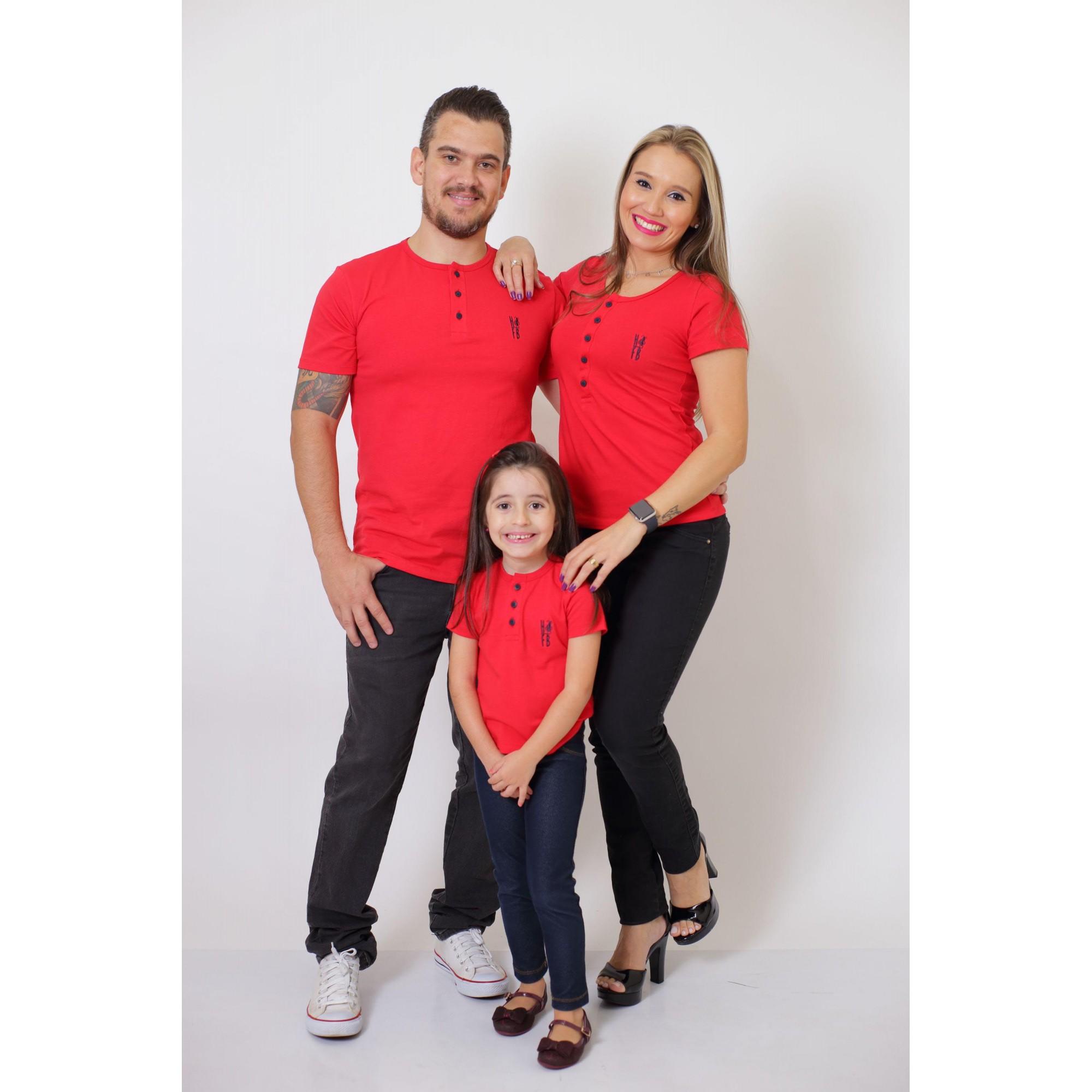 PAIS E FILHA > Kit 3 Peças - T-Shirt ou Body Henley - Vermelho [Coleção Família]