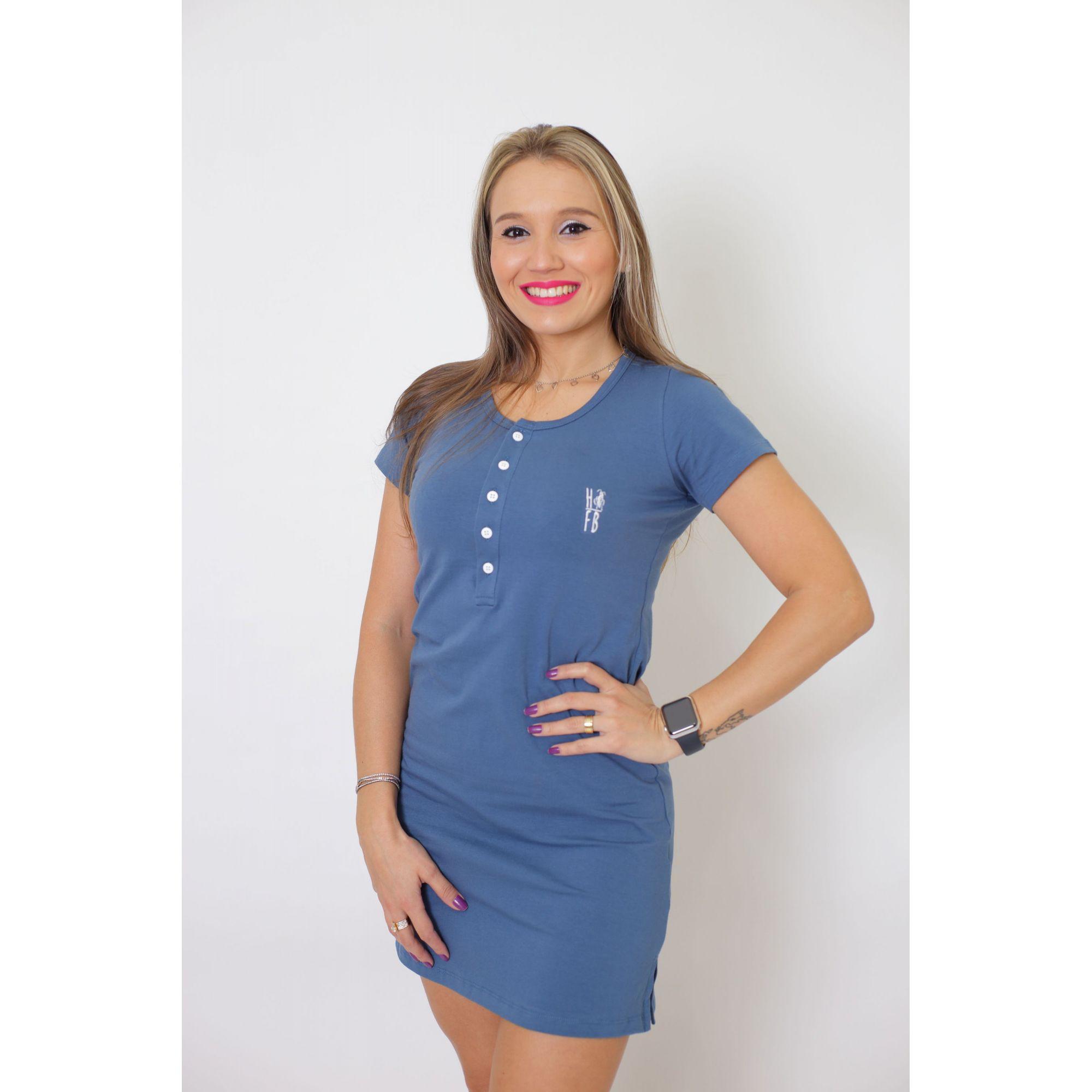 PAIS E FILHA > Kit 3 Peças T-Shirt + Vestido + t-Shirt ou Body Infantil Henley - Azul Petróleo [Coleção Família]  - Heitor Fashion Brazil