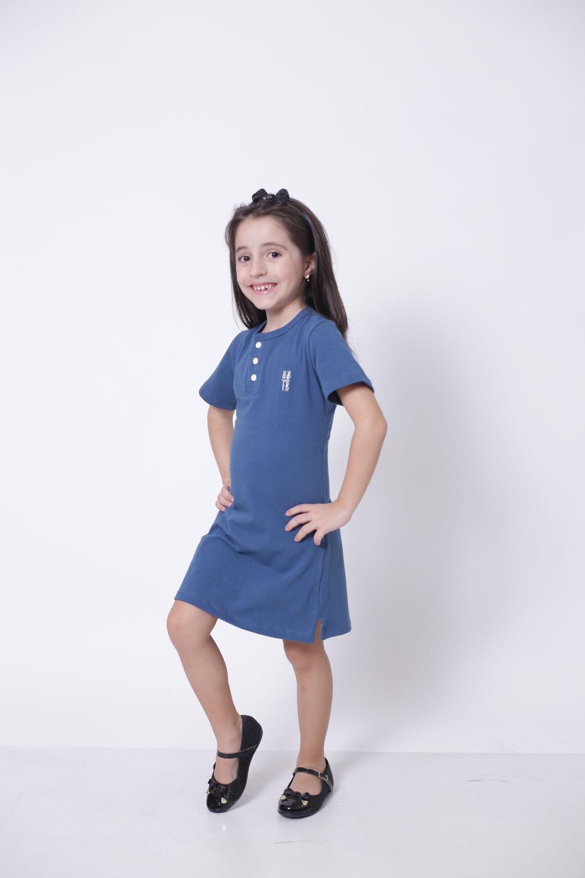 PAIS E FILHA > Kit 3 Peças T-Shirt + Vestidos Henley - Azul Petróleo [Coleção Família]  - Heitor Fashion Brazil