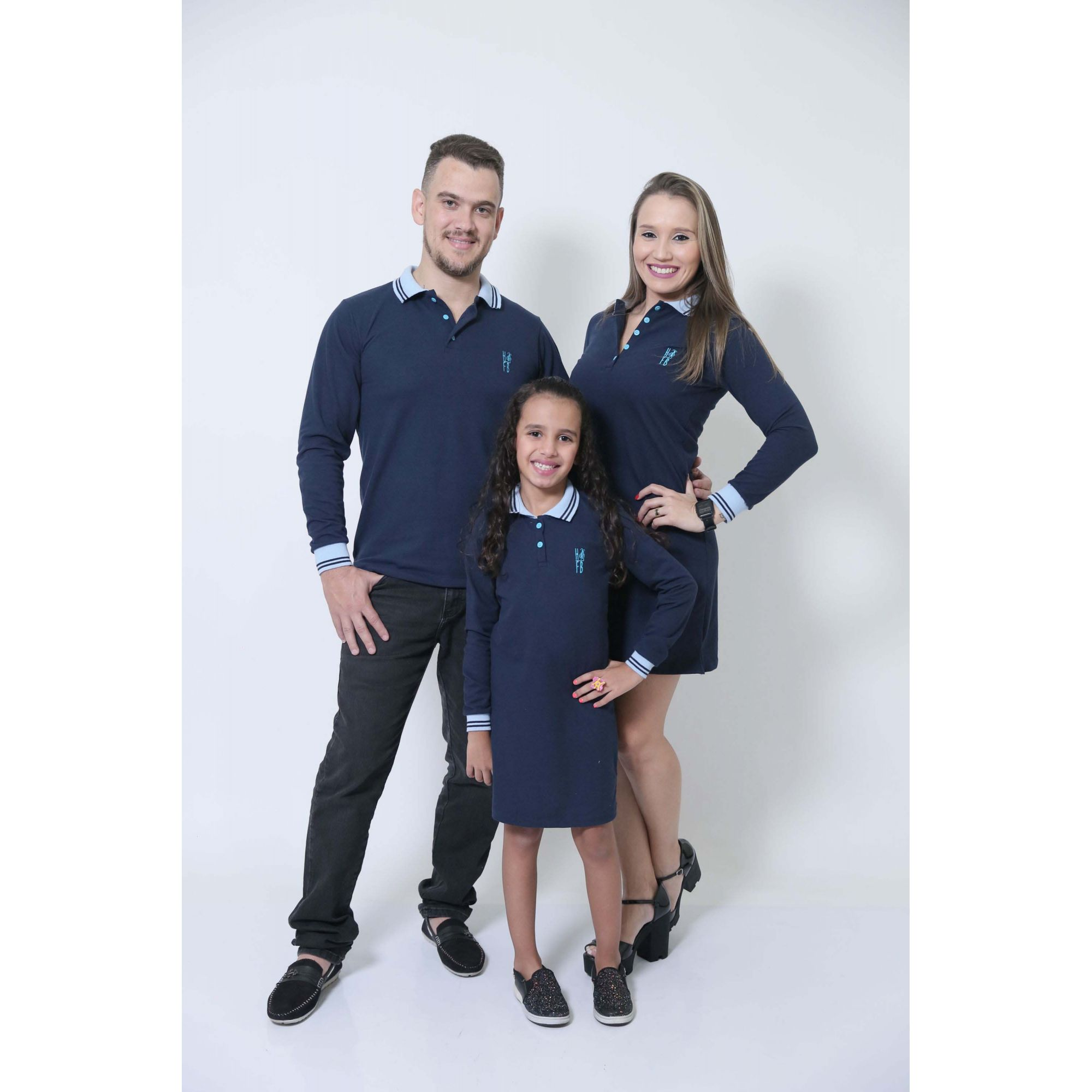 PAIS E FILHAS > Kit 03 Peças Azul Manga Longa Camisa + Vestidos Polo [Coleção Família]