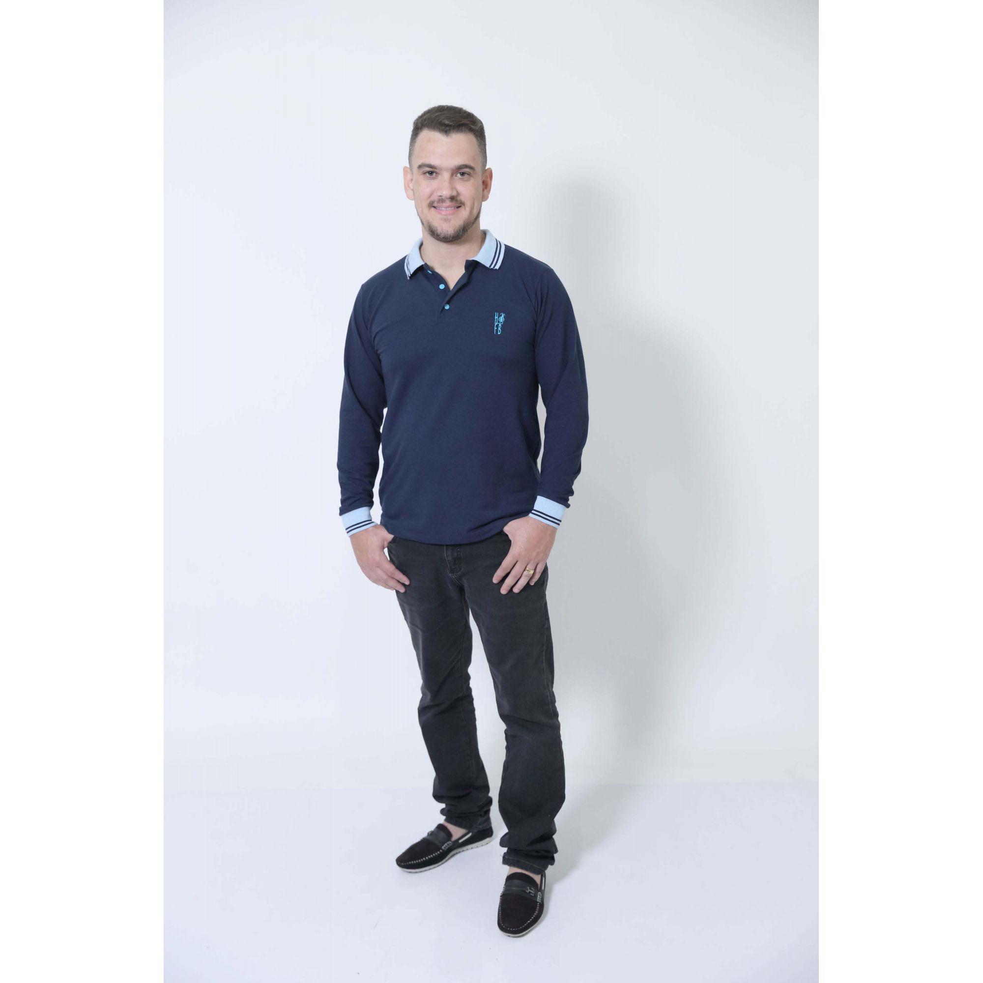 PAIS E FILHAS > Kit 03 Peças Azul Manga Longa Camisa + Vestidos Polo [Coleção Família]  - Heitor Fashion Brazil