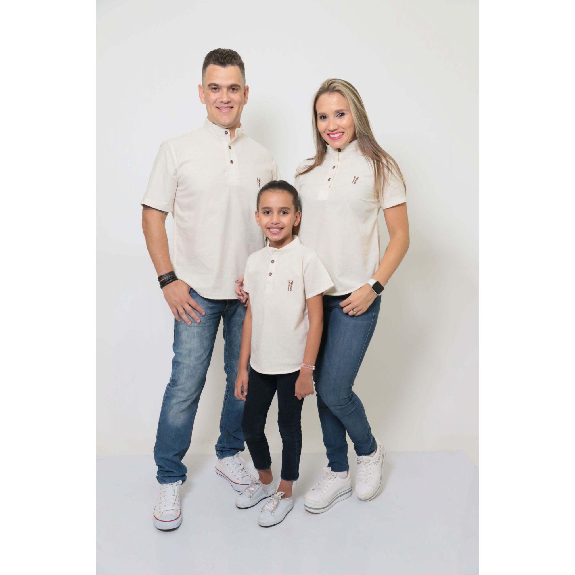 PAIS E FILHAS > Kit 3 peças Camisas Bata Gola Padre [Coleção Família]