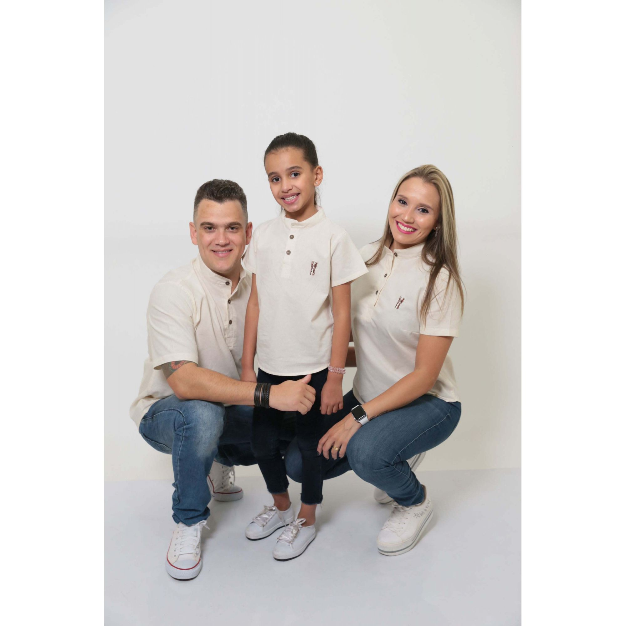 PAIS E FILHAS > Kit 3 peças Camisas Bata Gola Padre [Coleção Família]  - Heitor Fashion Brazil