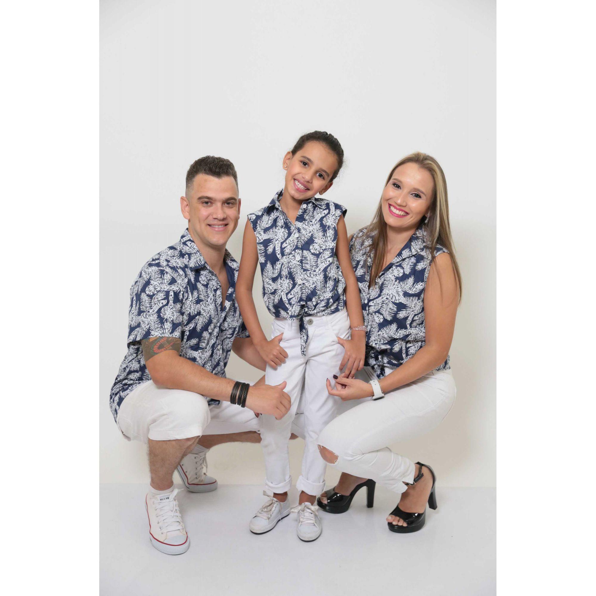 PAIS E FILHAS > Kit 3 peças Camisas Social Azul Floresta [Coleção Família]  - Heitor Fashion Brazil