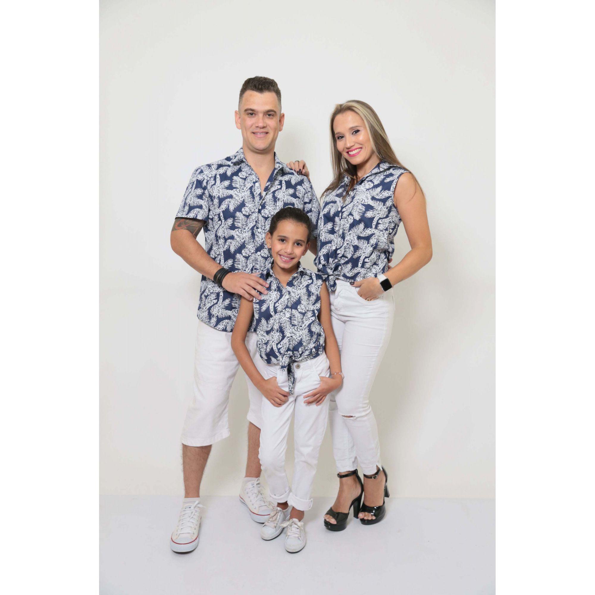 PAIS E FILHAS > Kit 3 peças Camisas Social Azul Floresta [Coleção Família]