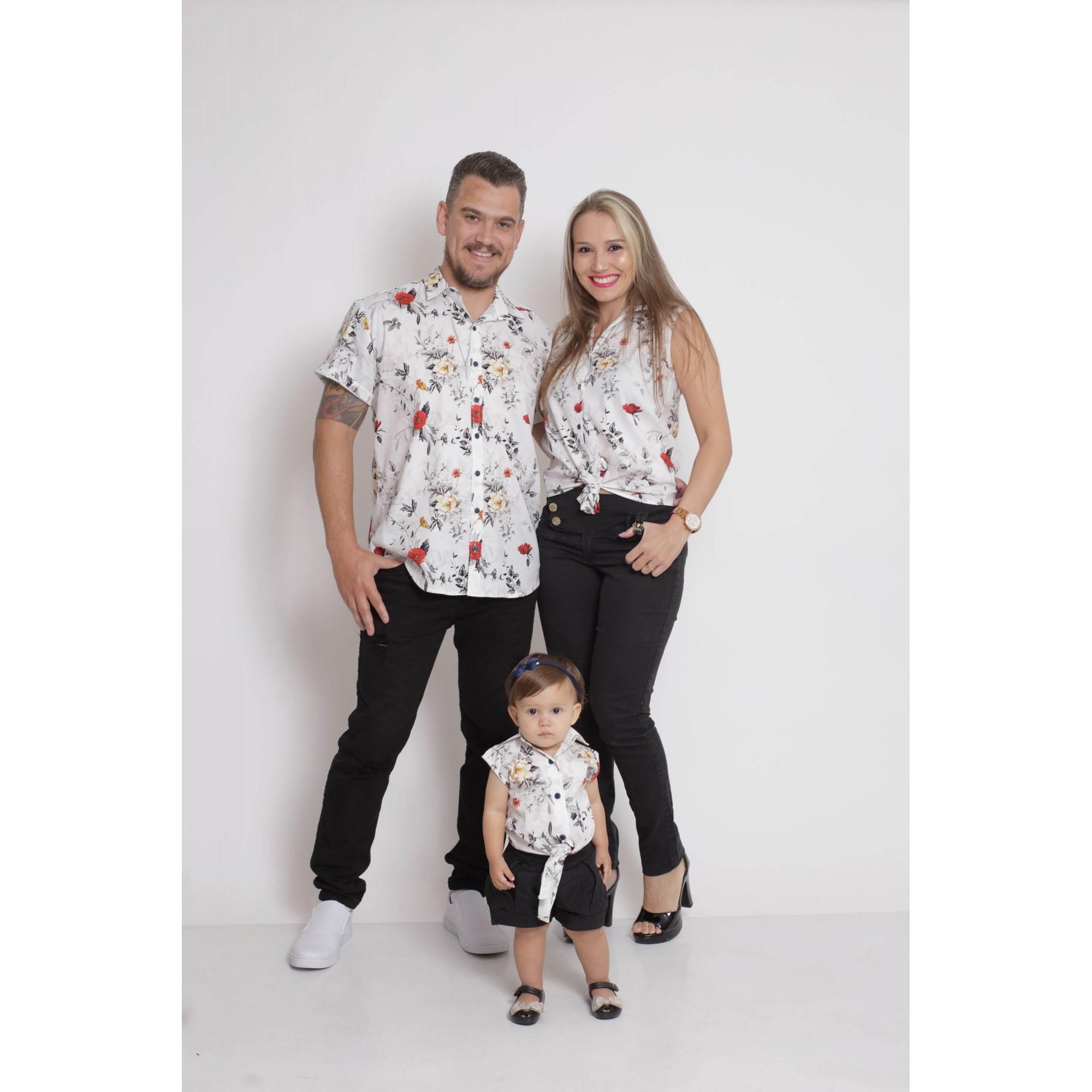 PAIS E FILHAS > Kit 3 peças Camisas Social Branca Floral [Coleção Família]