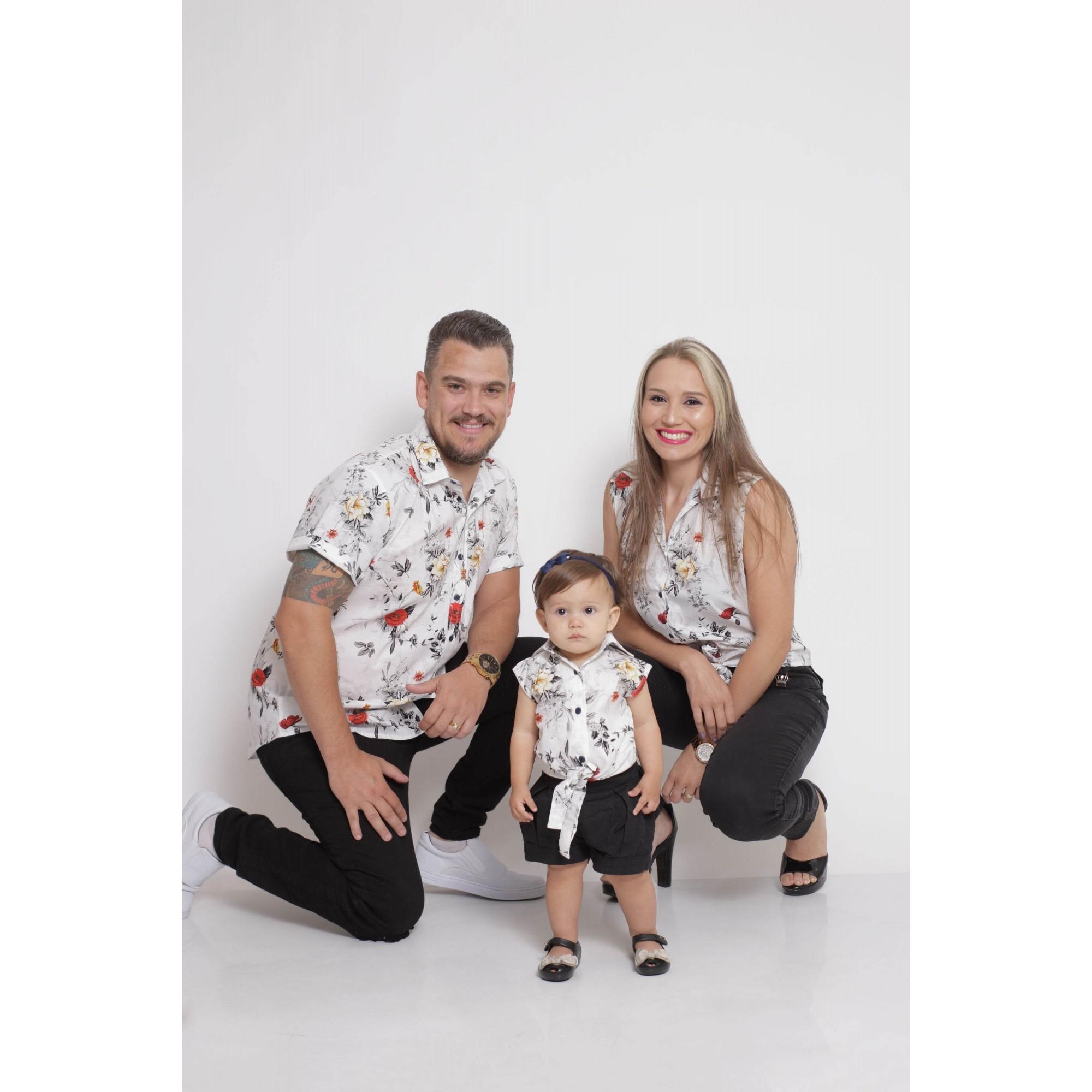PAIS E FILHAS > Kit 3 peças Camisas Social Branca Floral [Coleção Família]  - Heitor Fashion Brazil