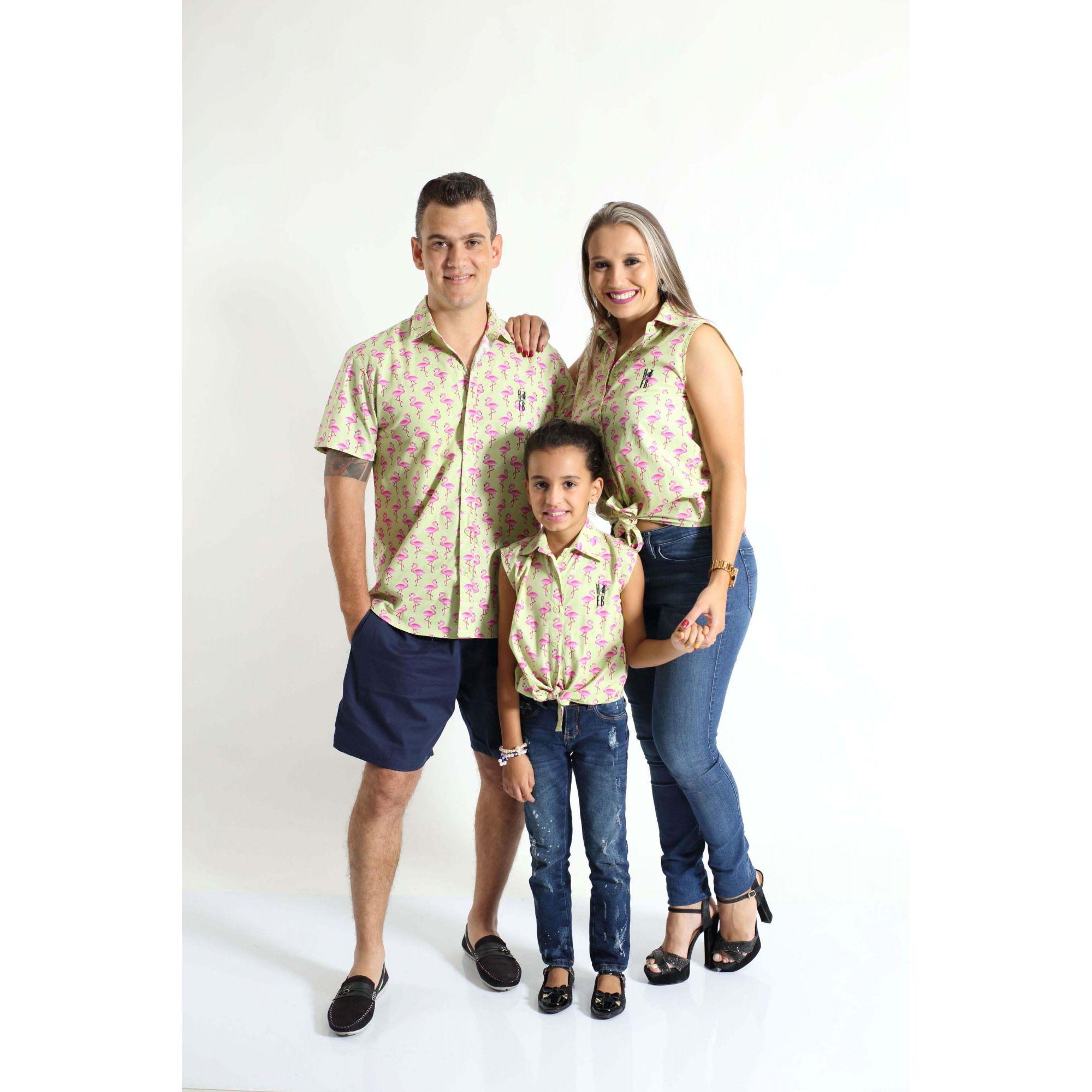 PAIS E FILHAS > Kit 3 peças Camisas Social Flamingo [Coleção Família]