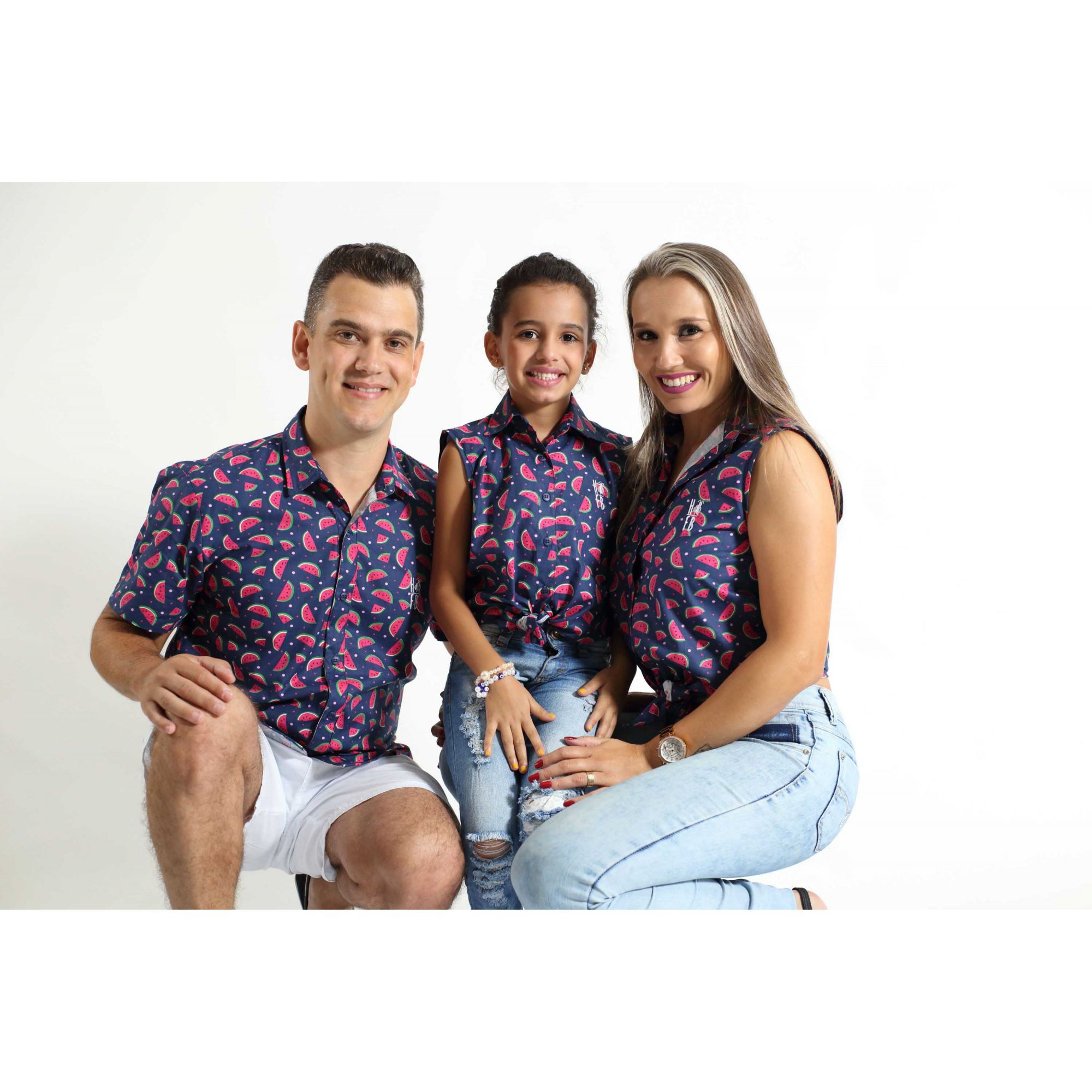 PAIS E FILHAS > Kit 3 peças Camisas Social Melancia [Coleção Família]  - Heitor Fashion Brazil
