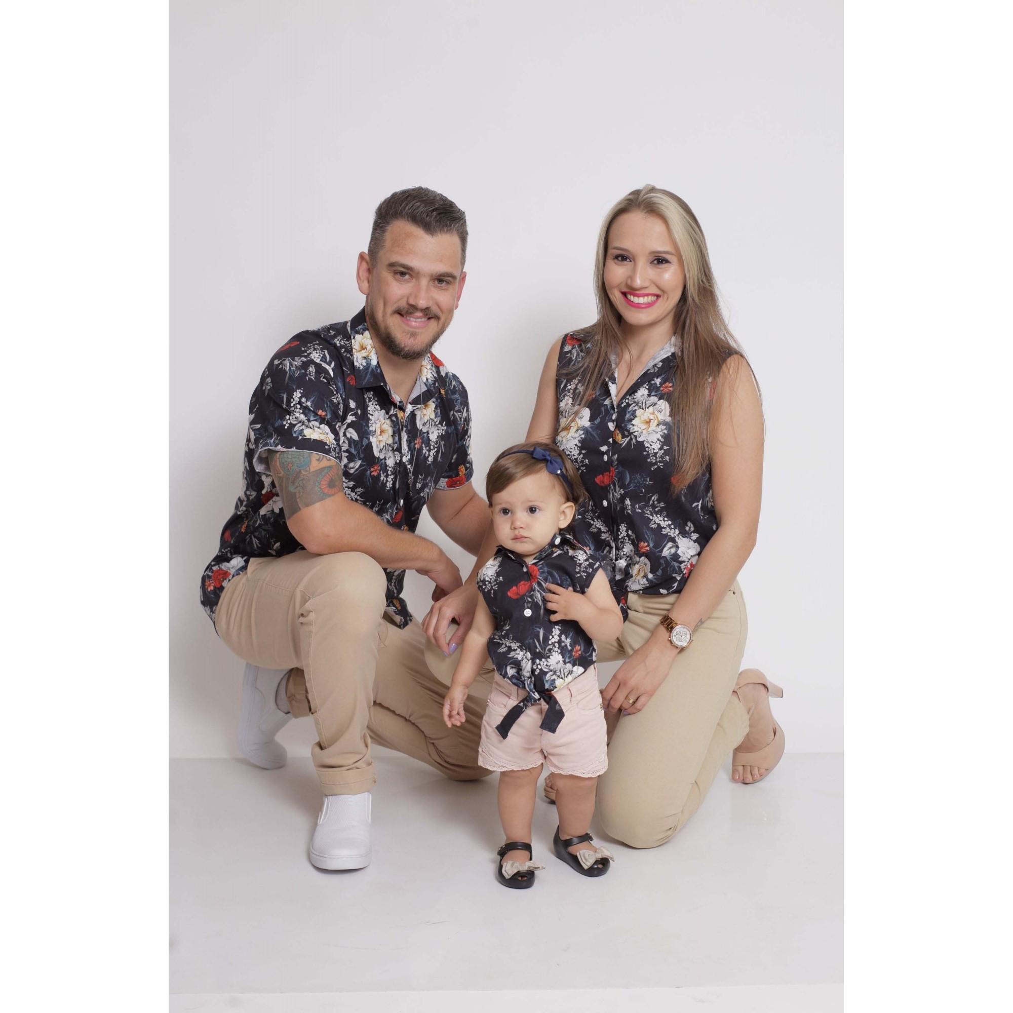 PAIS E FILHAS > Kit 3 peças Camisas Social Preta Floral [Coleção Família]