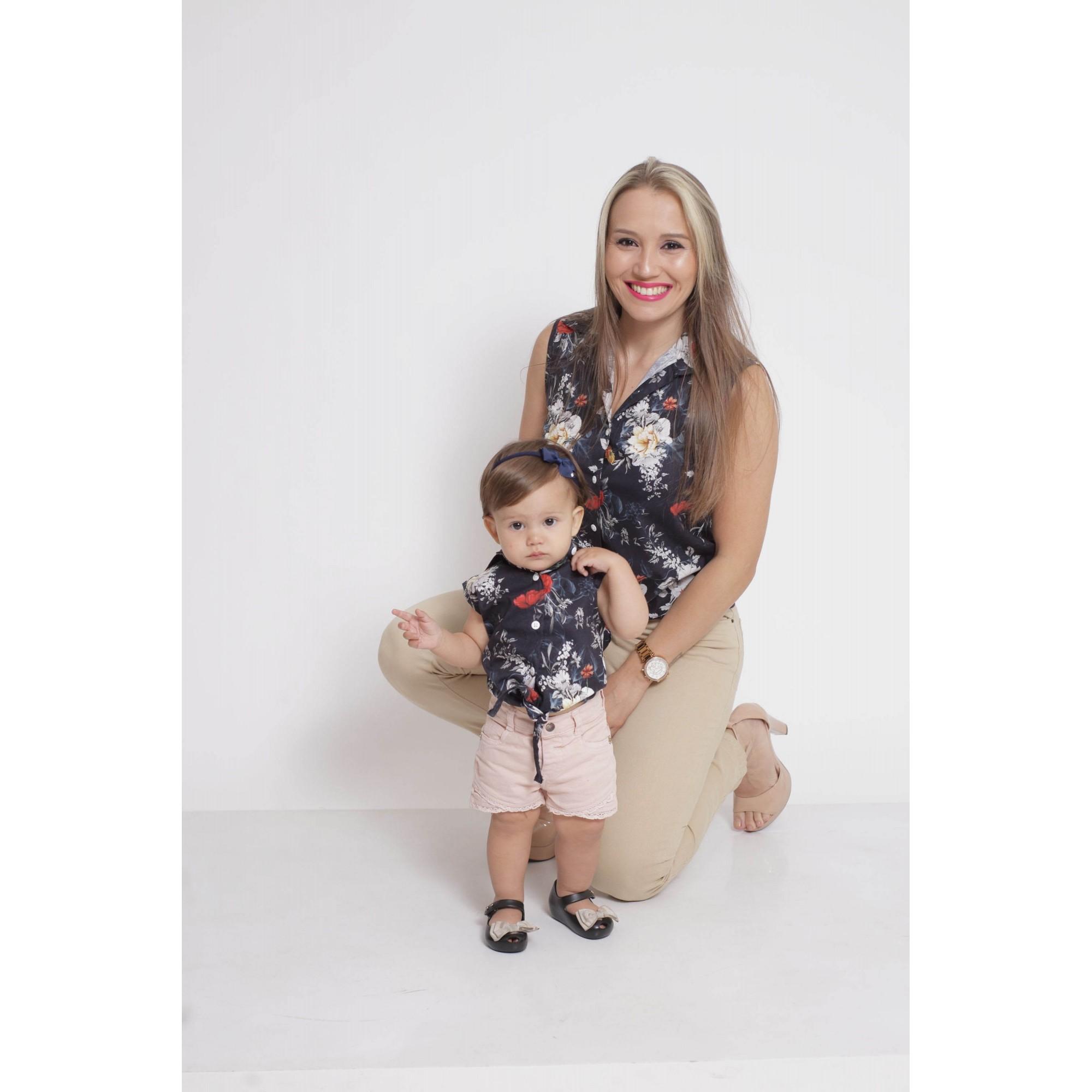 PAIS E FILHAS > Kit 3 peças Camisas Social Preta Floral [Coleção Família]  - Heitor Fashion Brazil