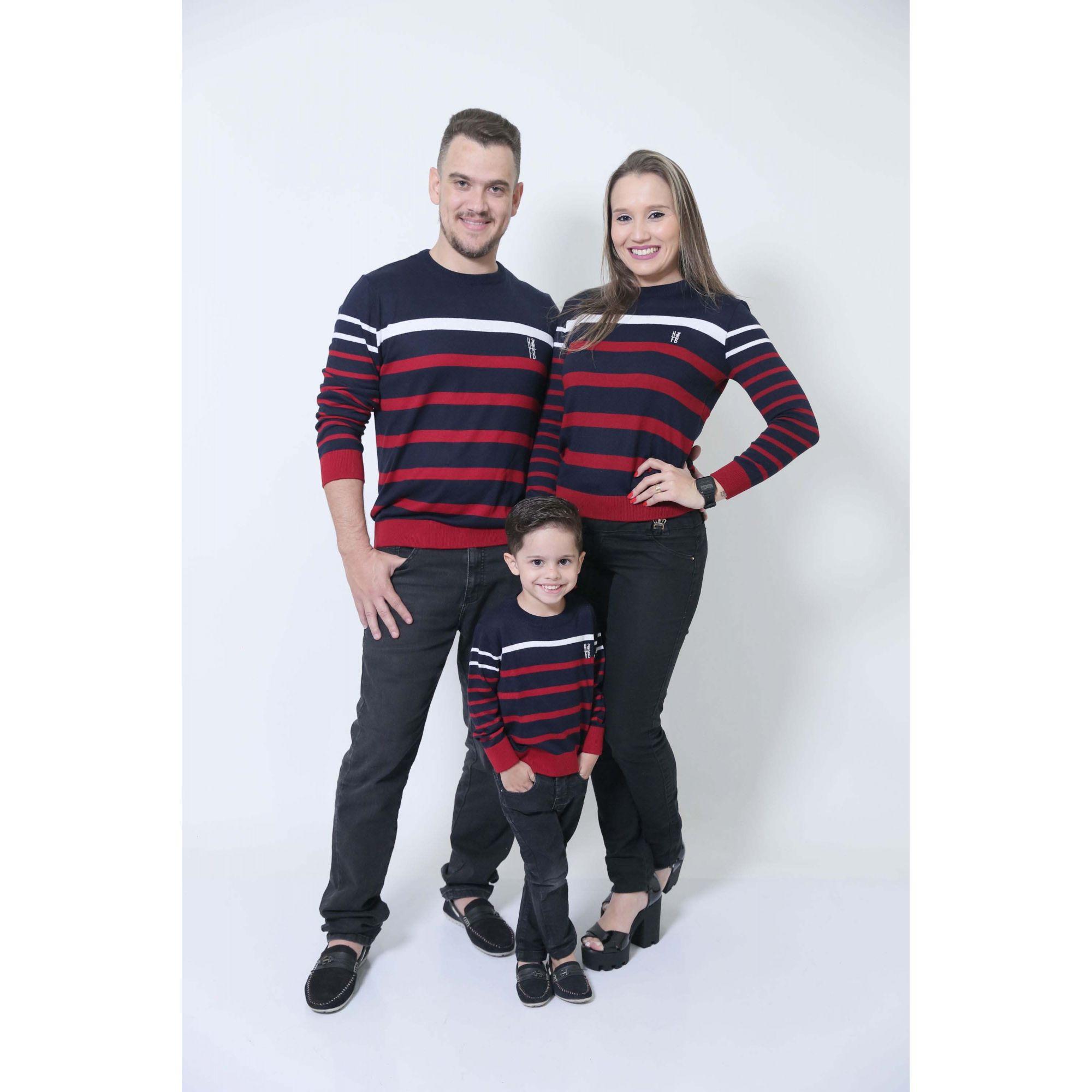 PAIS E FILHOS > Kit 03 Blusas Suéter Listrado - UNISSEX - [Coleção Família]