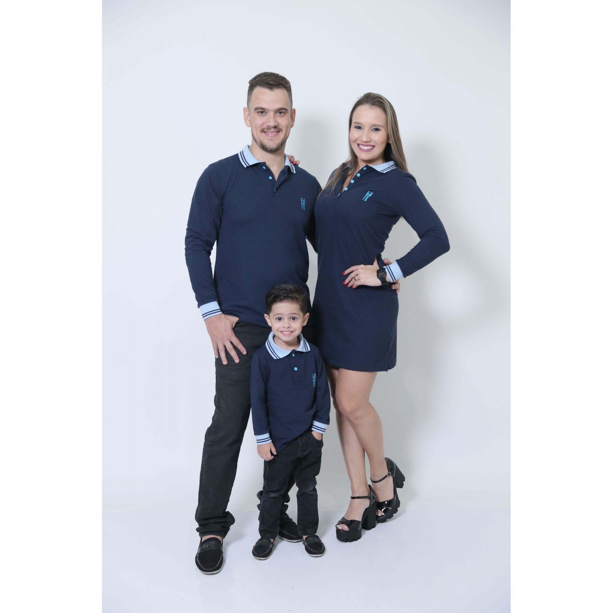 PAIS E FILHOS > Kit 03 Peças Azul Manga Longa Camisas ou Body + Vestido Polo [Coleção Família]