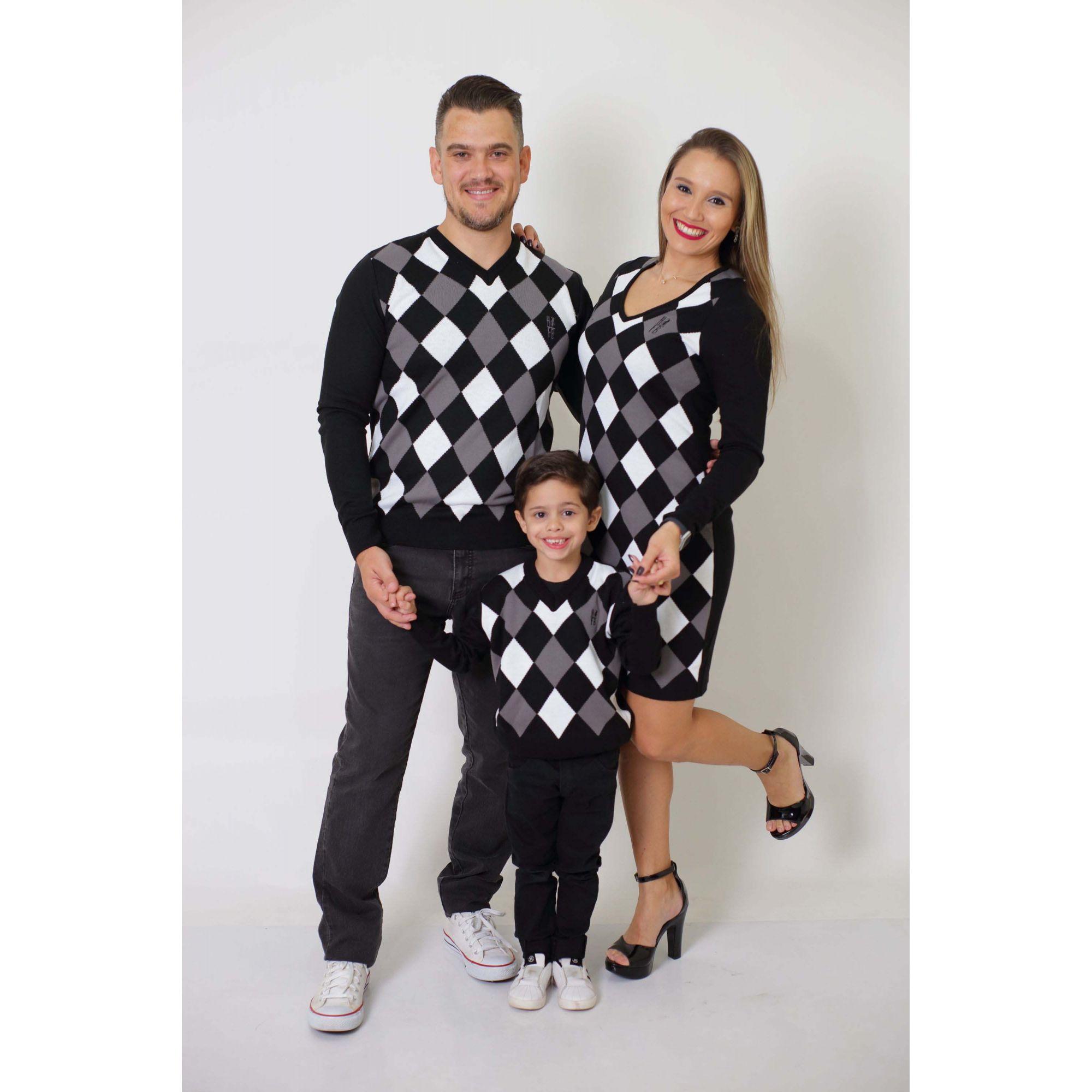 PAIS E FILHOS > Kit 03 Peças - Blusas Suéter + Vestido - Jacquar [Coleção Família]
