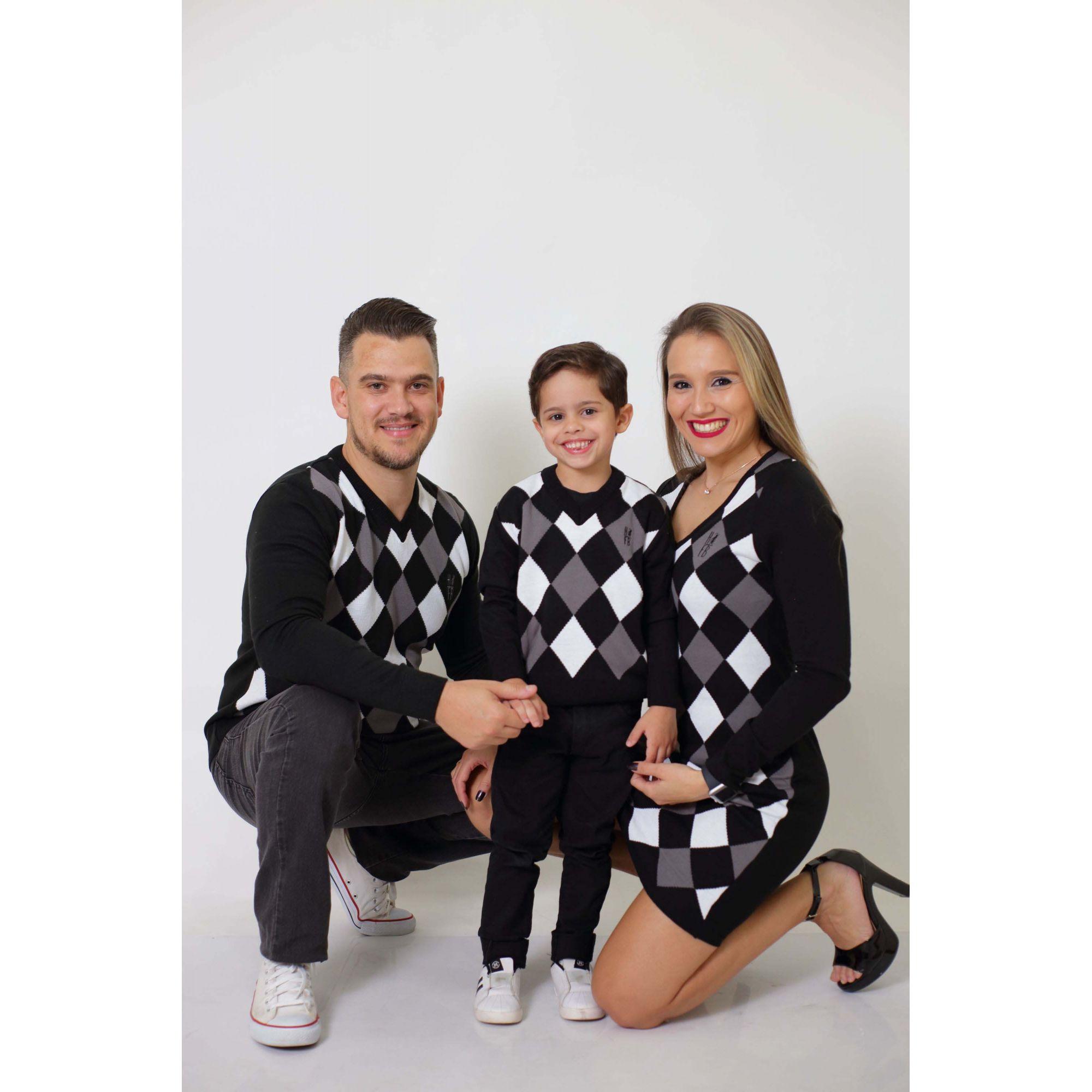 PAIS E FILHOS > Kit 03 Peças - Blusas Suéter + Vestido - Jacquar [Coleção Família]  - Heitor Fashion Brazil