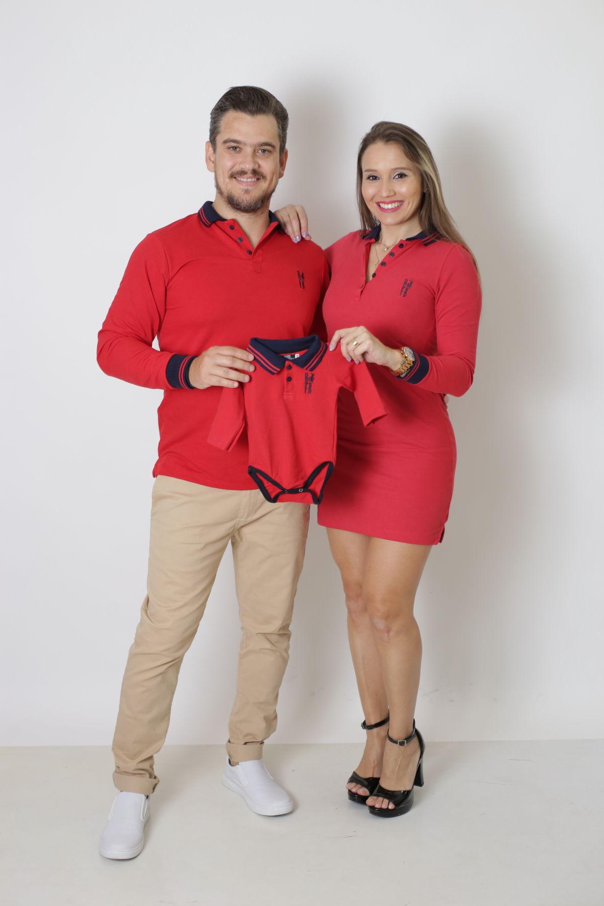 PAIS E FILHOS > Kit 03 Peças Vermelho Manga Longa - Camisa + Body unissex + Vestido Polo [Coleção Família]