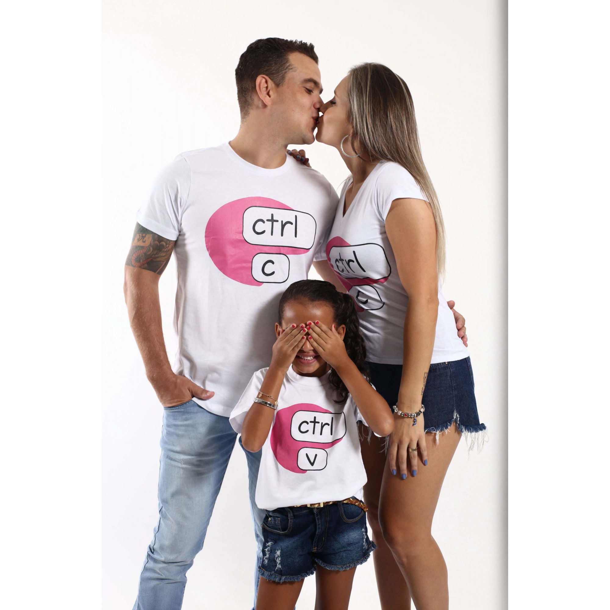 PAIS E FILHOS > Kit 3 Camisetas Brancas CTRL-C & CTRL-V [Coleção Família]  - Heitor Fashion Brazil